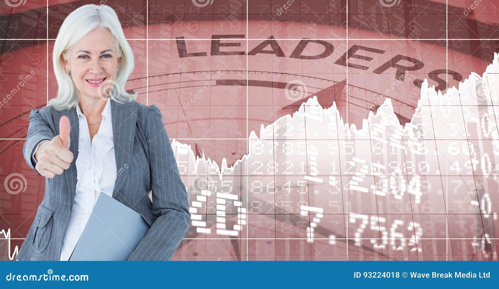 Zusammengesetztes Bild Digital der Geschäftsfrau die Daumen gestikulierend, die sich gegen Zahlen und Kompass wi wehren