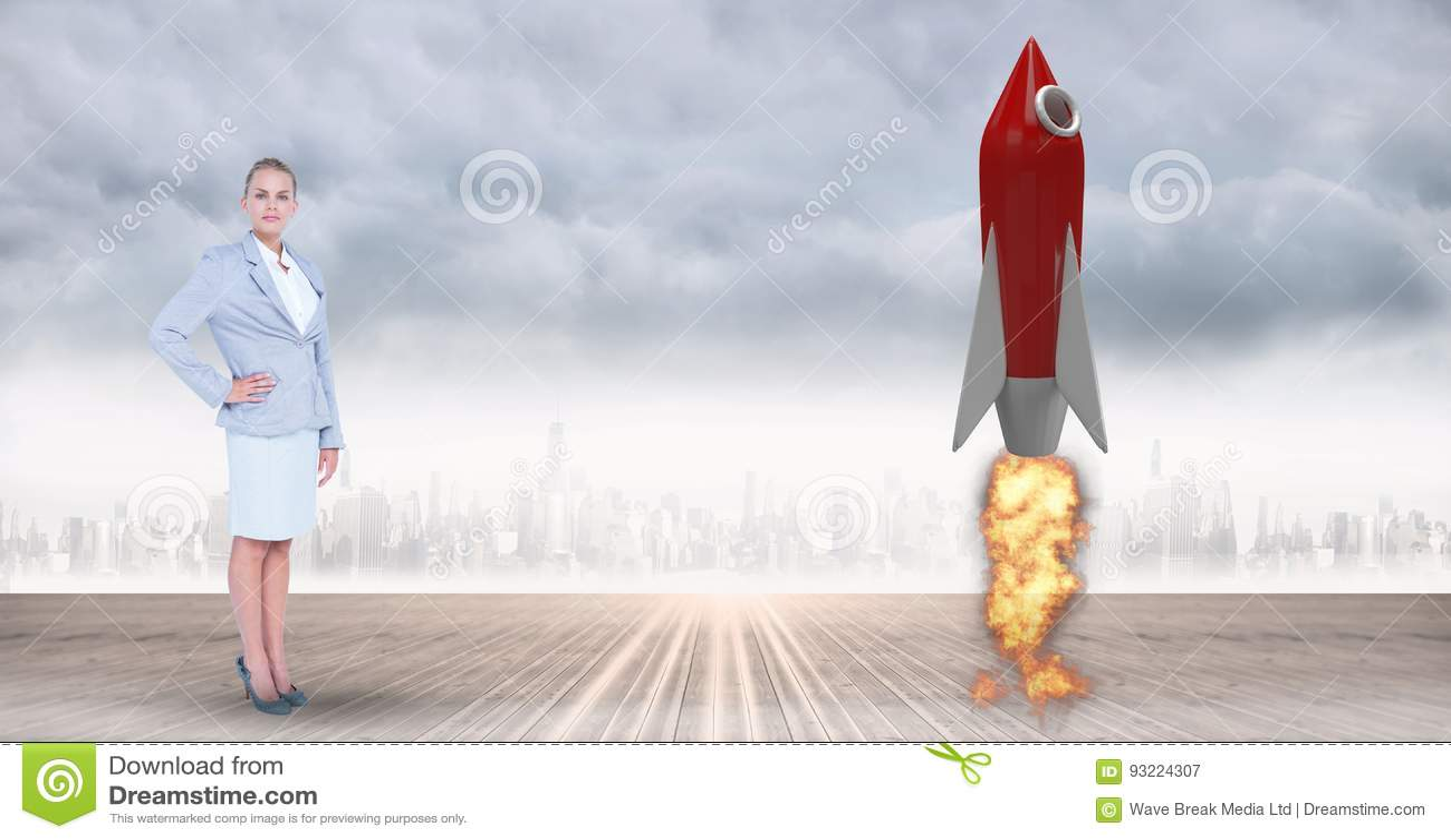 Zusammengesetztes Bild Digital des bereitstehenden Raketenstarts der Geschäftsfrau gegen Stadt