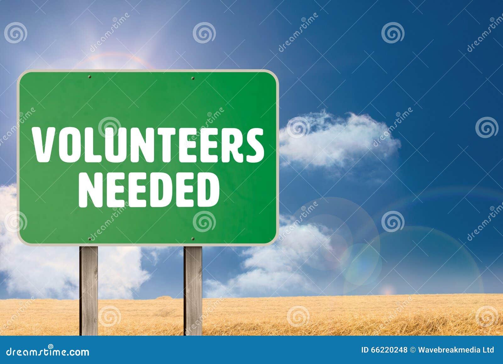 Zusammengesetztes Bild von den Freiwilligen benötigt