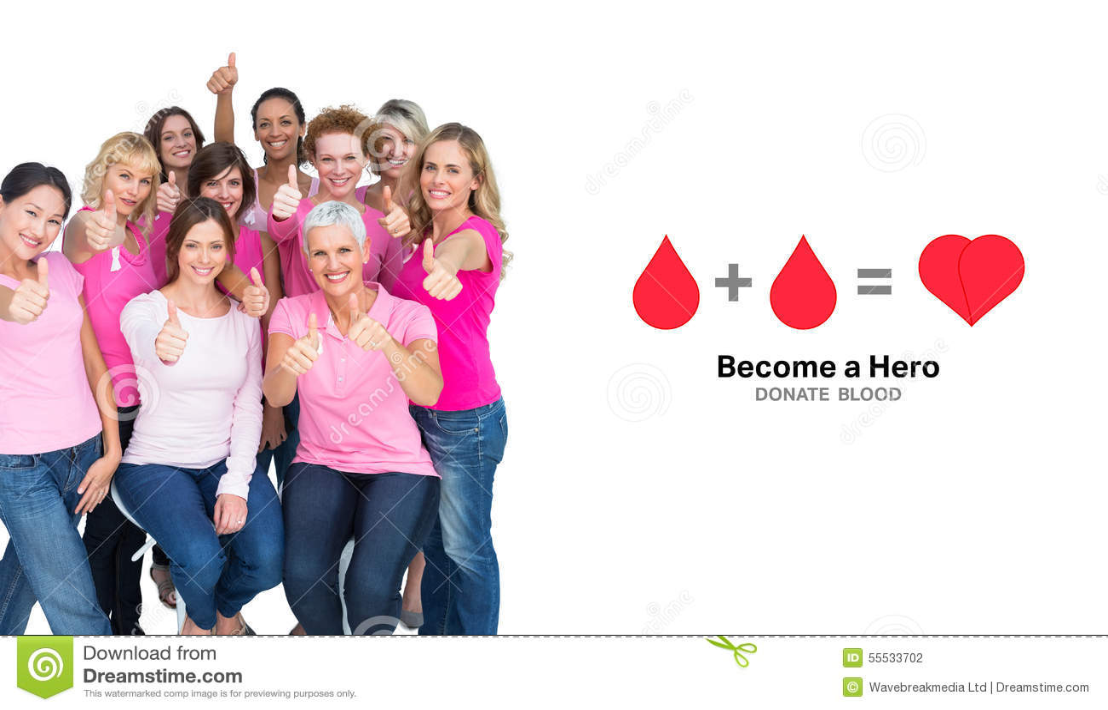 Zusammengesetztes Bild von den freiwilligen netten Frauen, die Rosa für Brustkrebs tragen