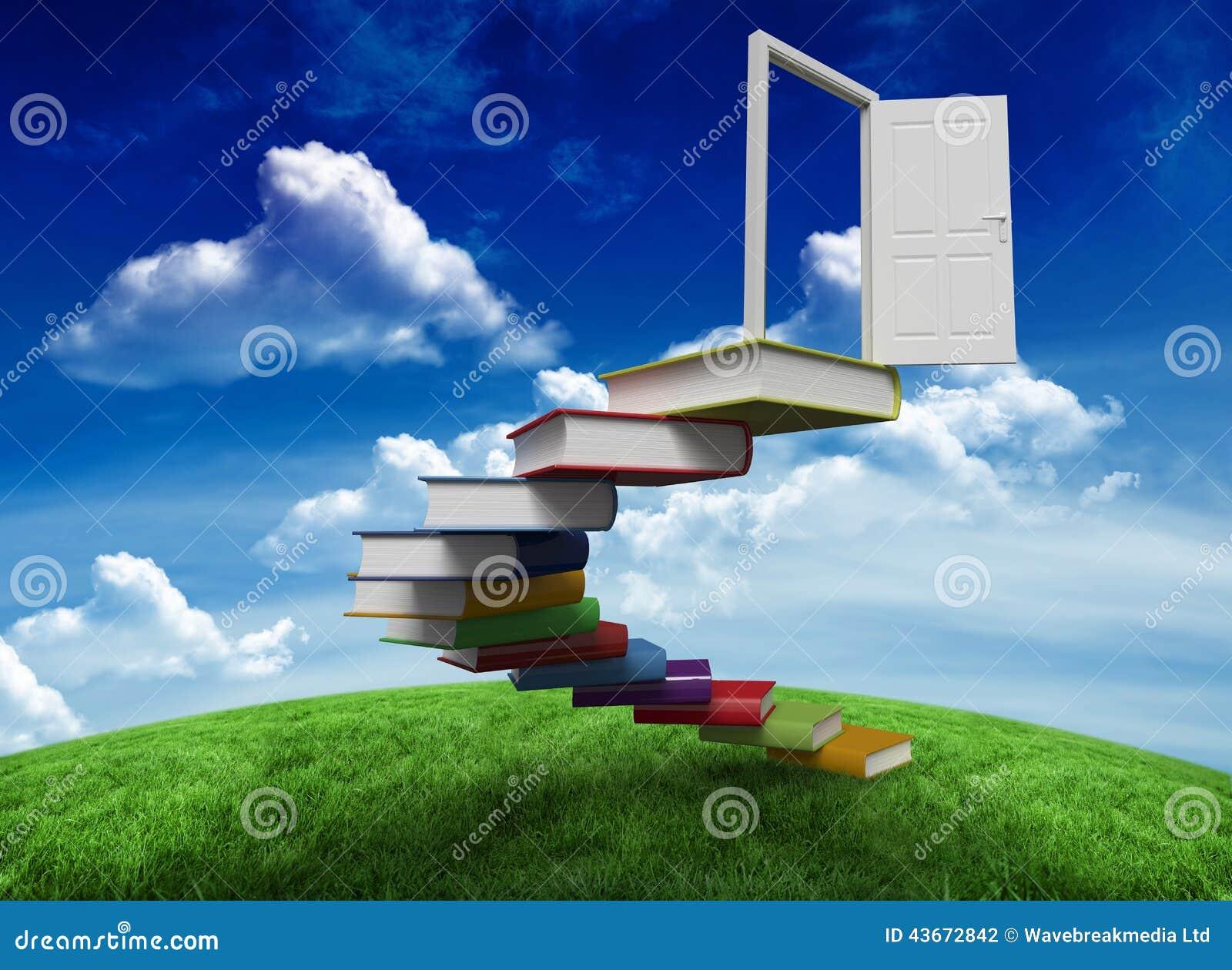 Zusammengesetztes Bild von den Schritten gemacht von den Büchern, die zu Tür führen
