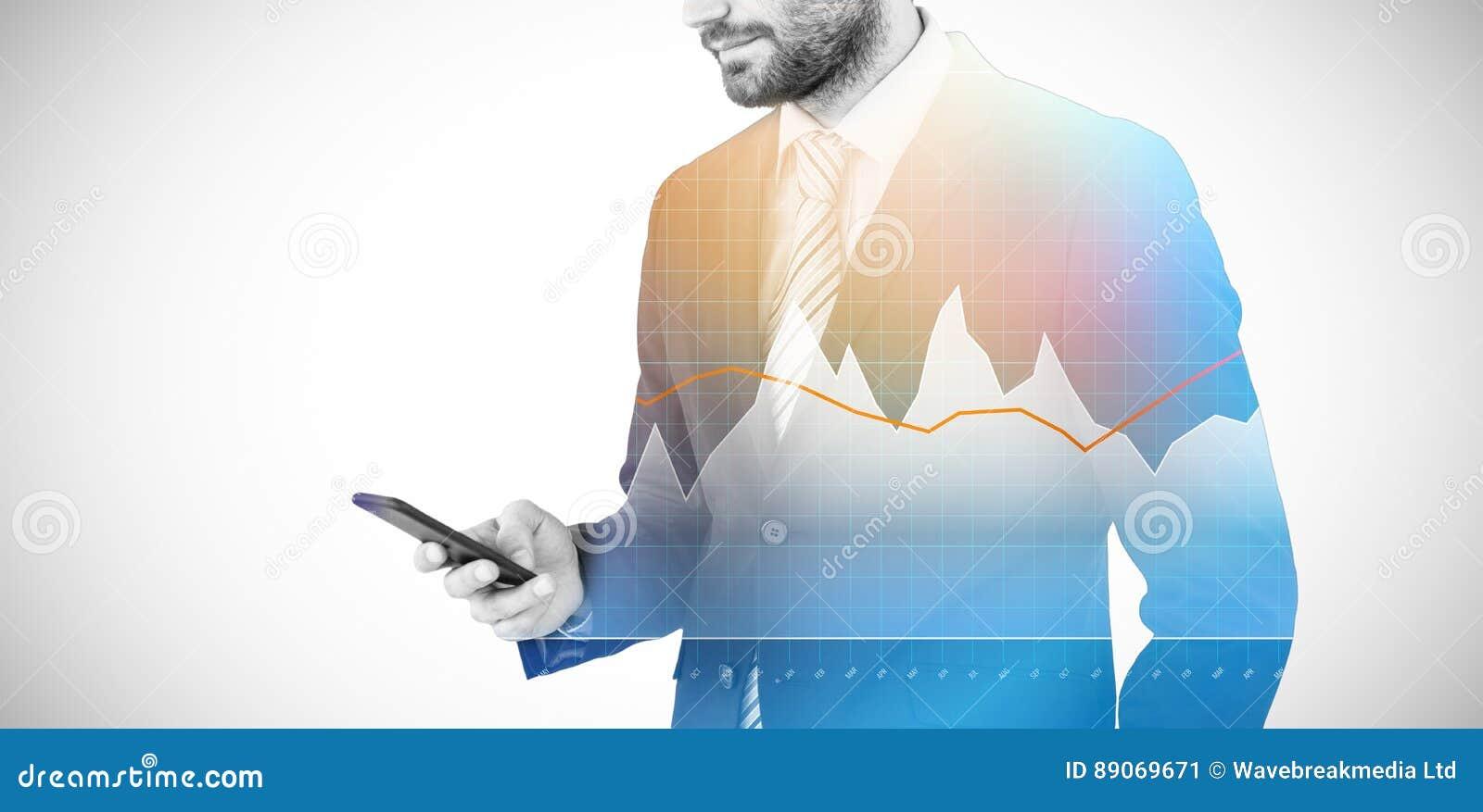 Zusammengesetztes Bild von Geschäftsmannversenden von sms-nachrichten am Handy 3d