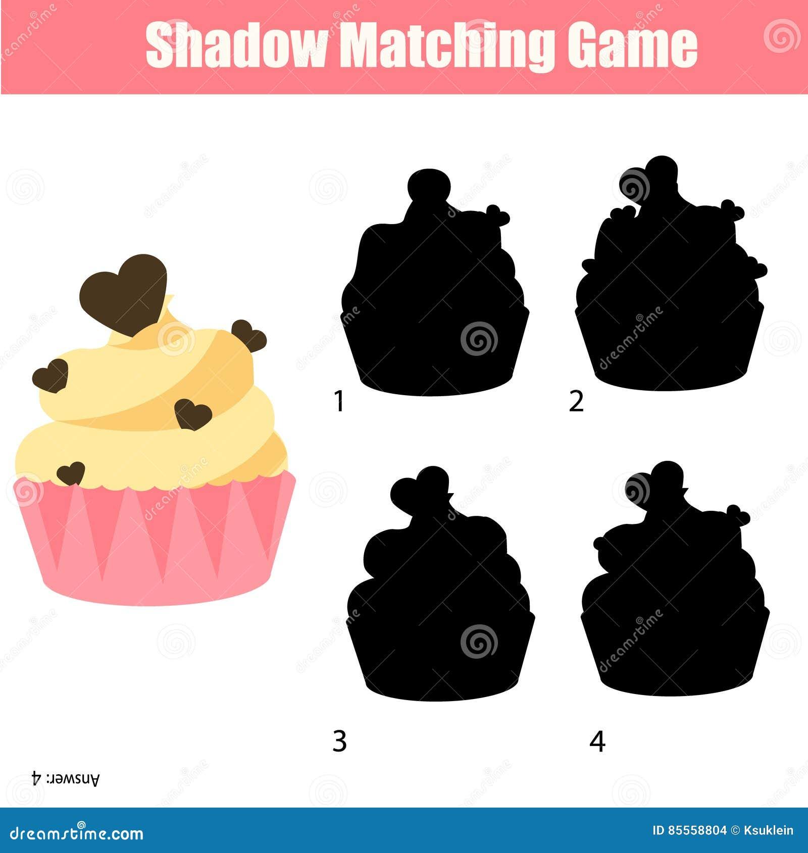 Zusammenpassendes Spiel Des Schattens Finden Sie Das Korrekte ...