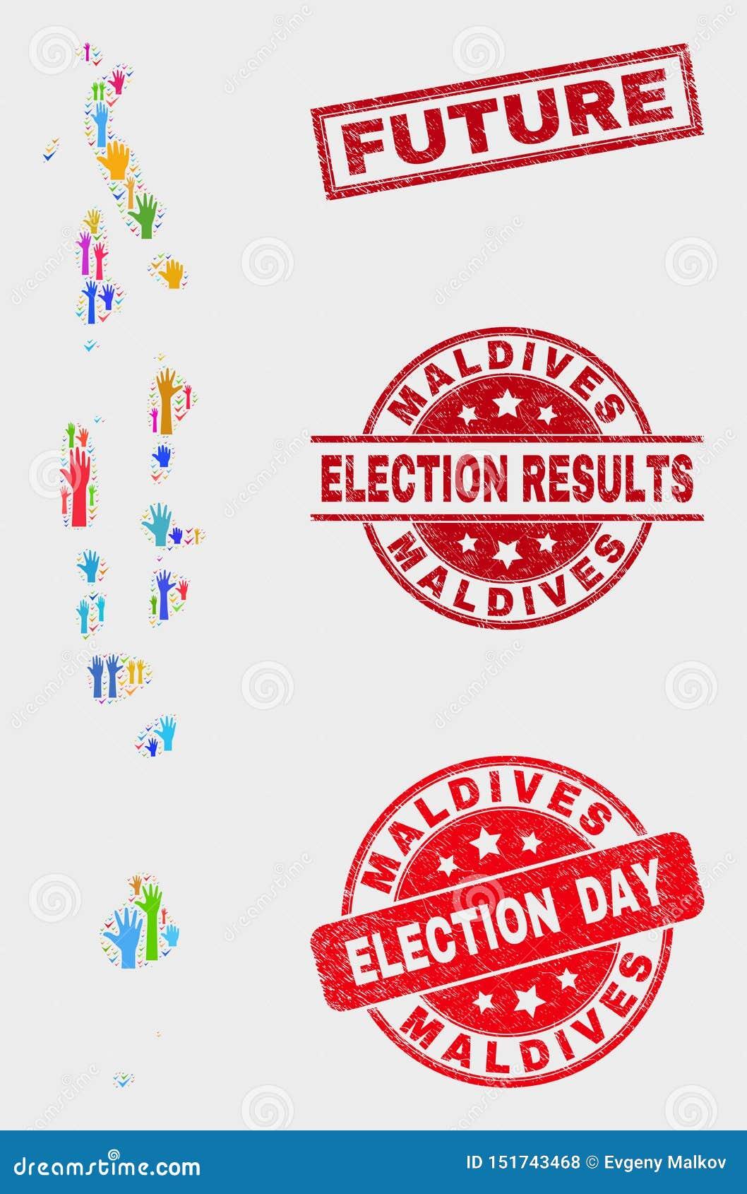 Zusammensetzung Wahl-Malediven-Karte und zukünftiges Stempelsiegel beunruhigen