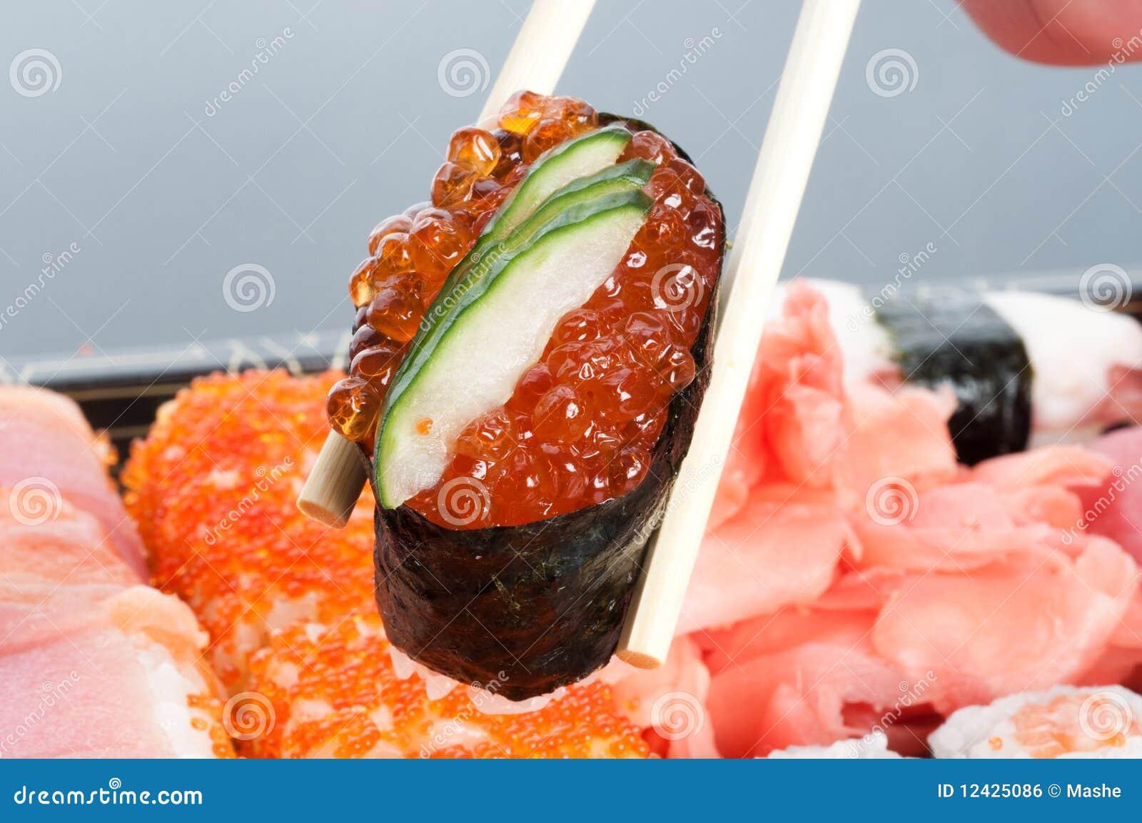 Zusammenstellung der japanischen Sushi