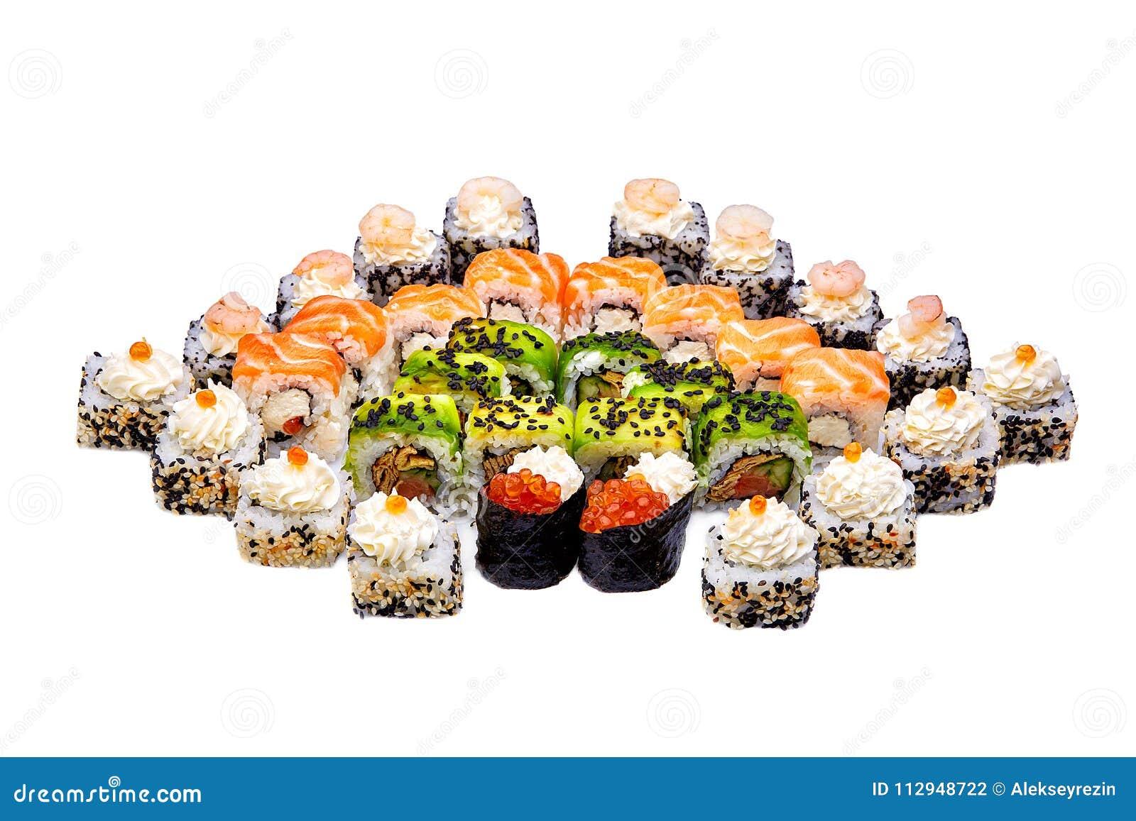Zusammenstellung von traditionellen japanischen Sushi Sushi-Satz lokalisiert auf weißem Hintergrund