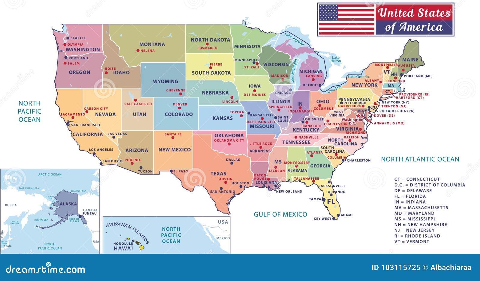 Usa Staaten Karte Mit Hauptstädten.Zustandshauptstädte Und Bedeutende Städte Der Vereinigten Staaten