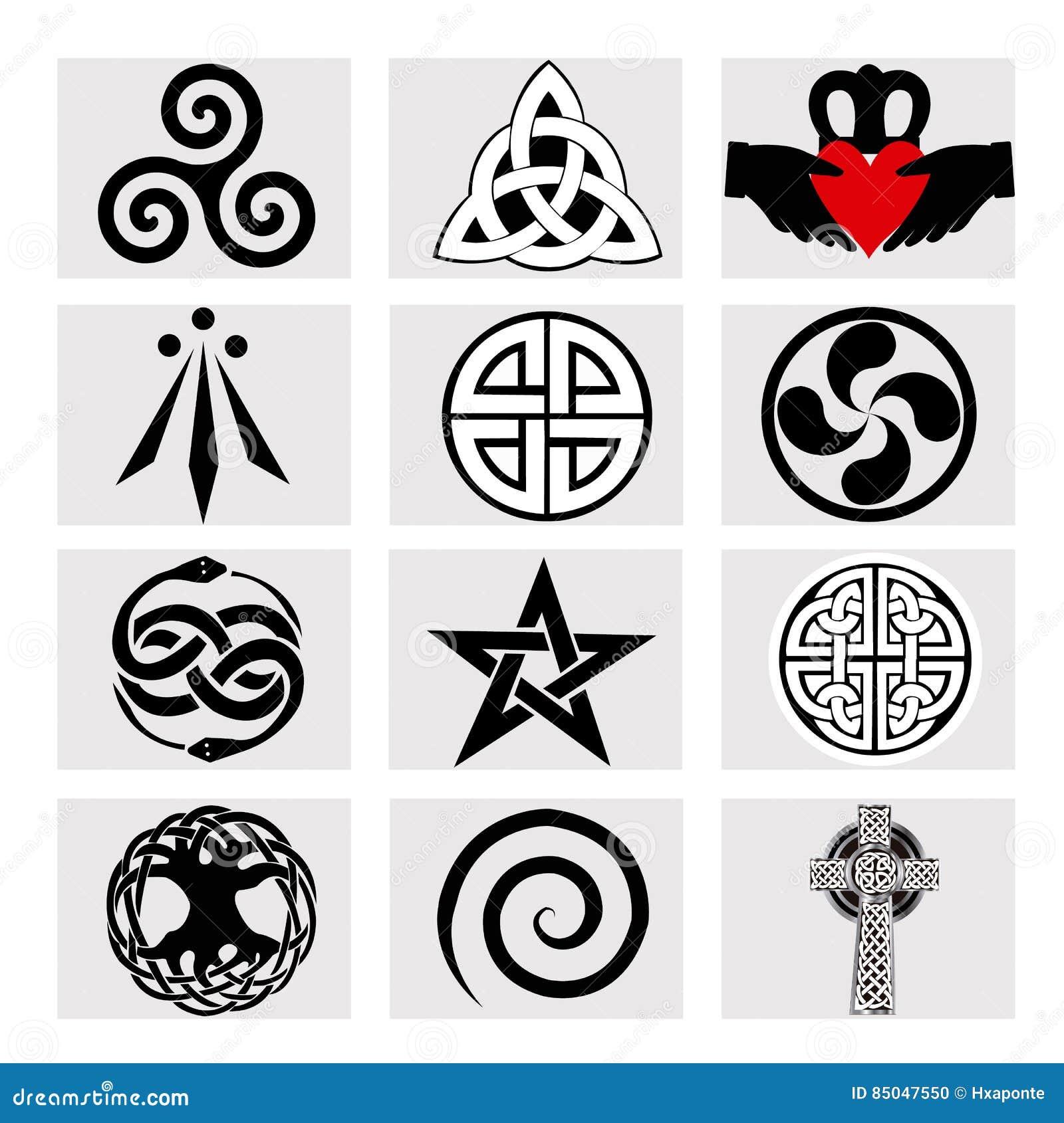 Zwölf keltische Symbole stock abbildung. Illustration von