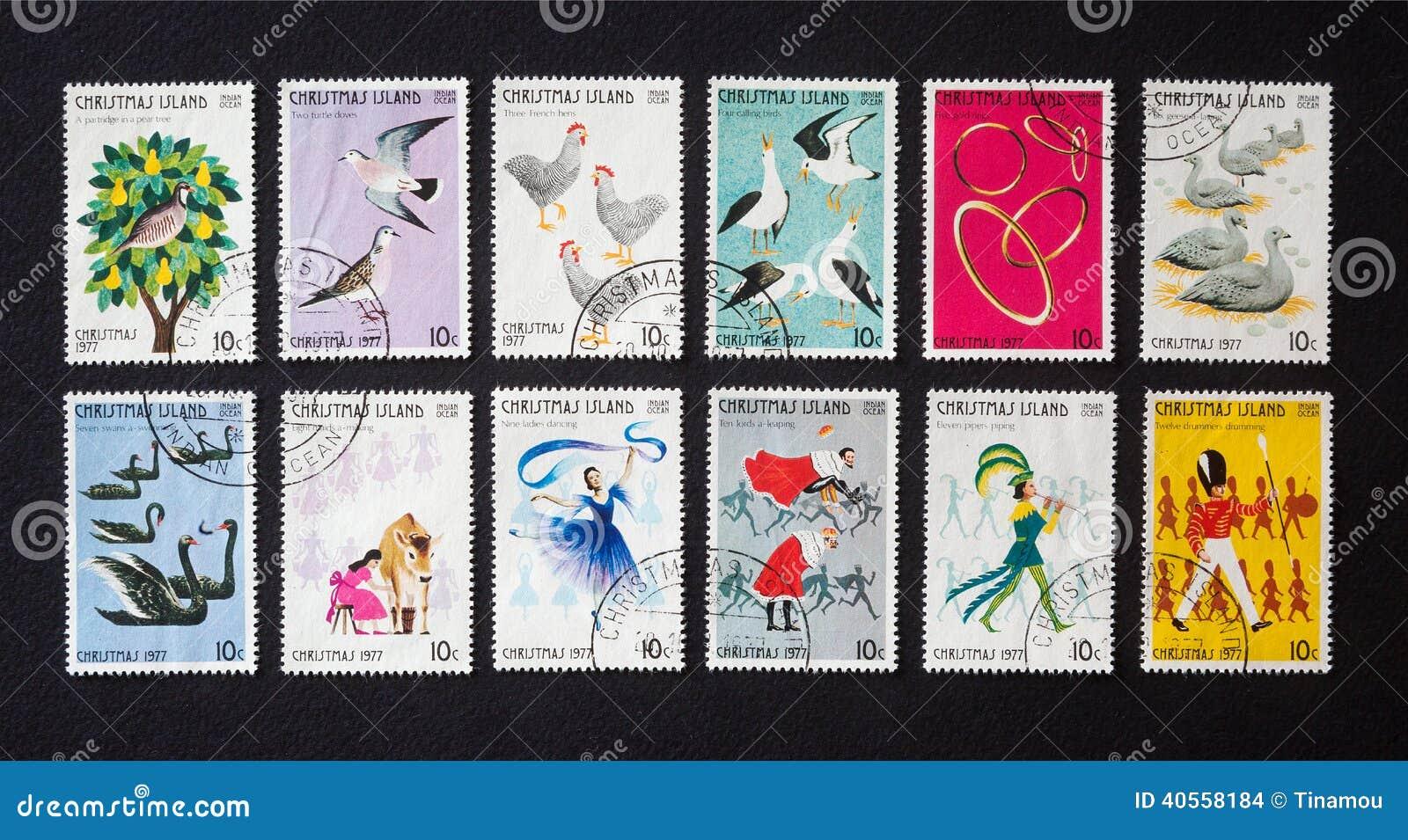 Zwölf Tage Weihnachten Auf Briefmarken Stockfoto - Bild von insel ...