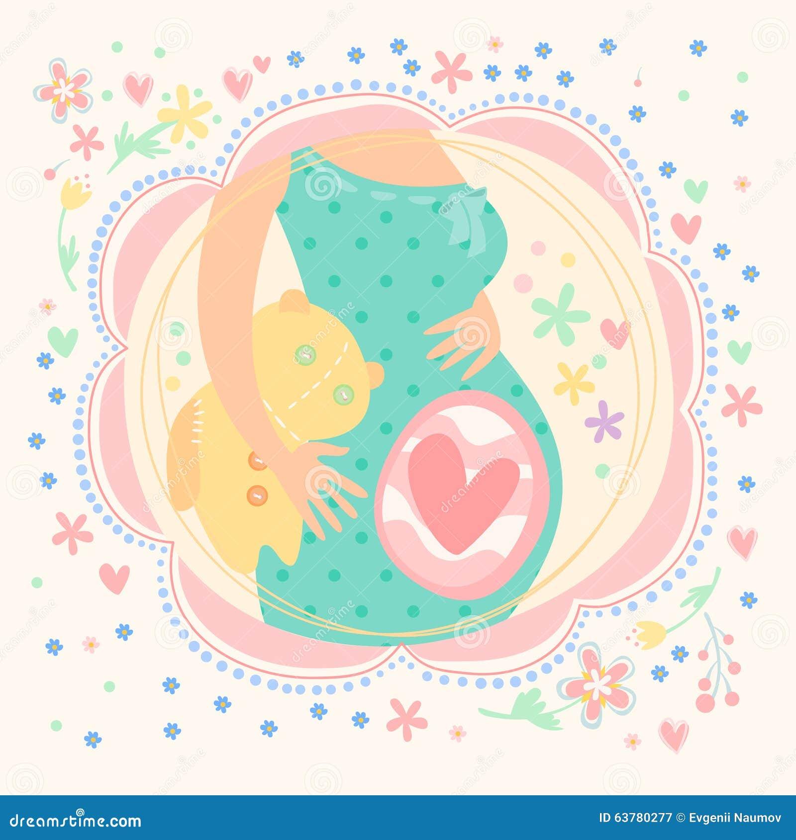 Zwangere vrouw met binnen baby gelukkig kind vector illustratie afbeelding 63780277 - Bebe ontwerp ...