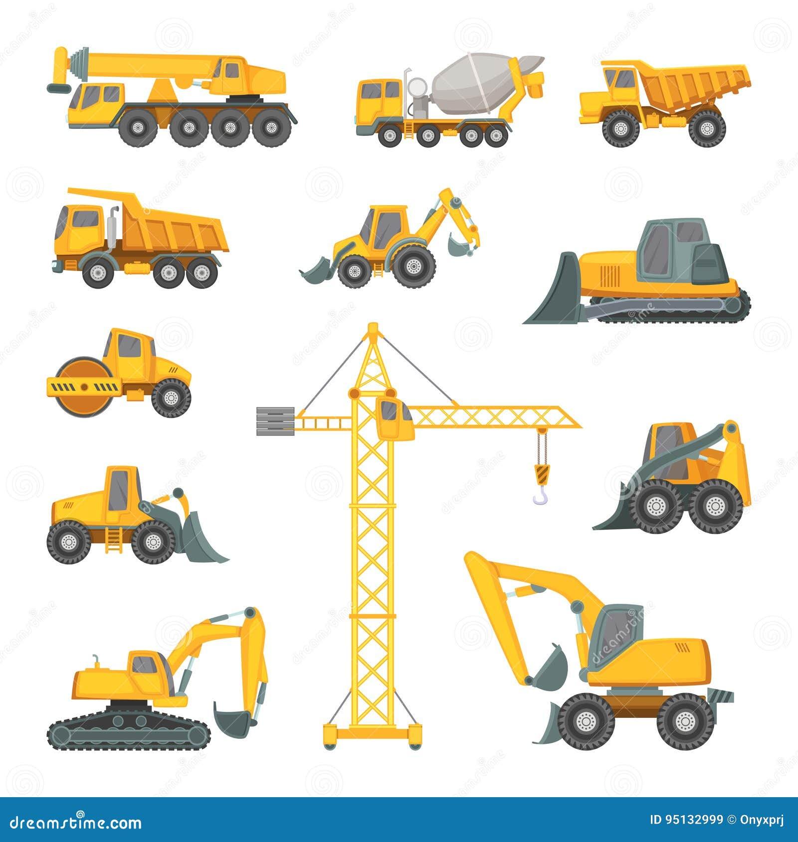 Zware bouwmachines Graafwerktuig, bulldozer en andere techniek Vectorillustraties in beeldverhaalstijl