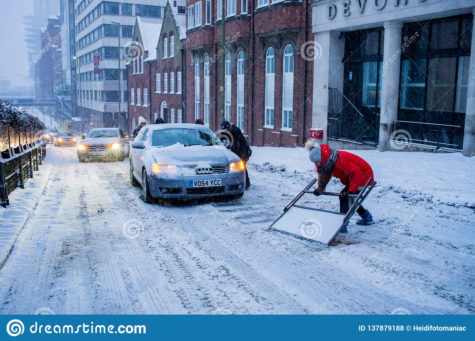 Zware sneeuw in Birmingham, het Verenigd Koninkrijk