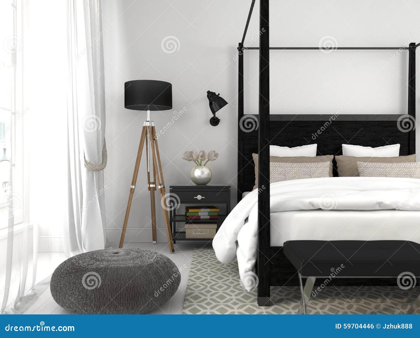Wit bed en een grijze muur stock foto   afbeelding: 59175969