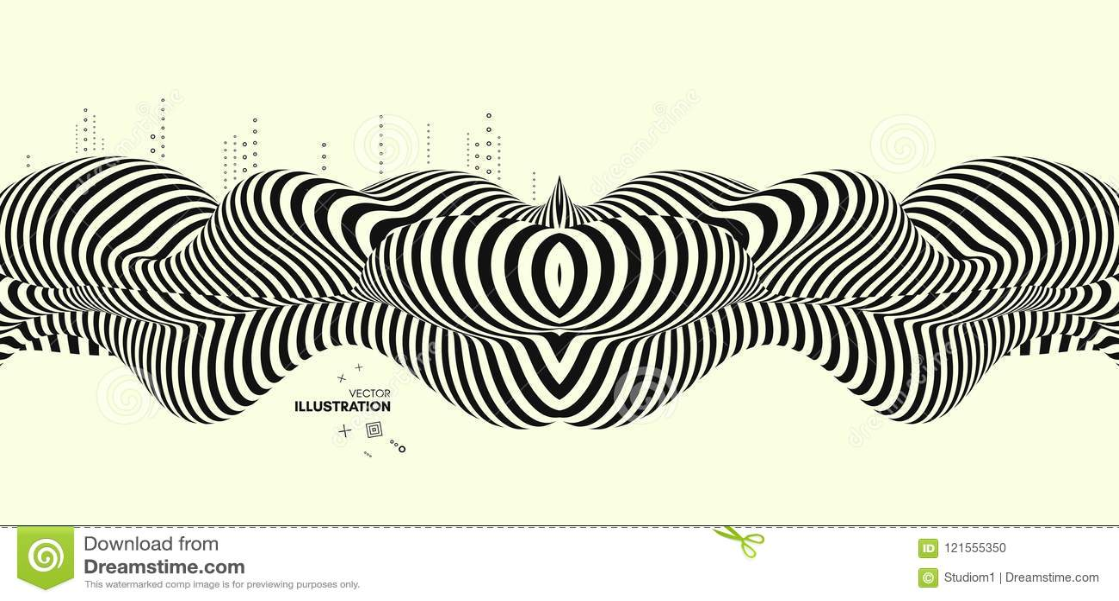 Zwart en geel ontwerp Patroon met optische illusie Abstracte 3d geometrische achtergrond
