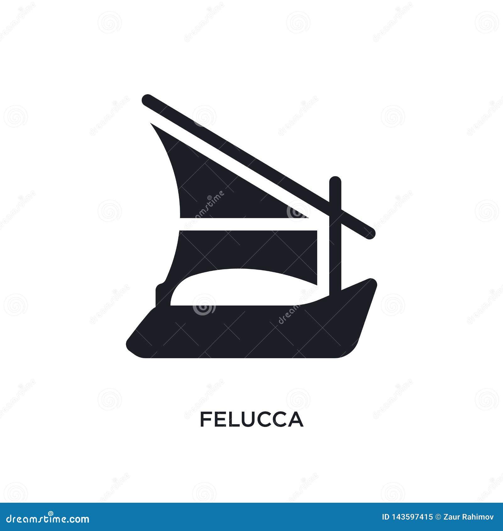 Zwart felucca geïsoleerd vectorpictogram eenvoudige elementenillustratie van zeevaartconcepten vectorpictogrammen symbool van het