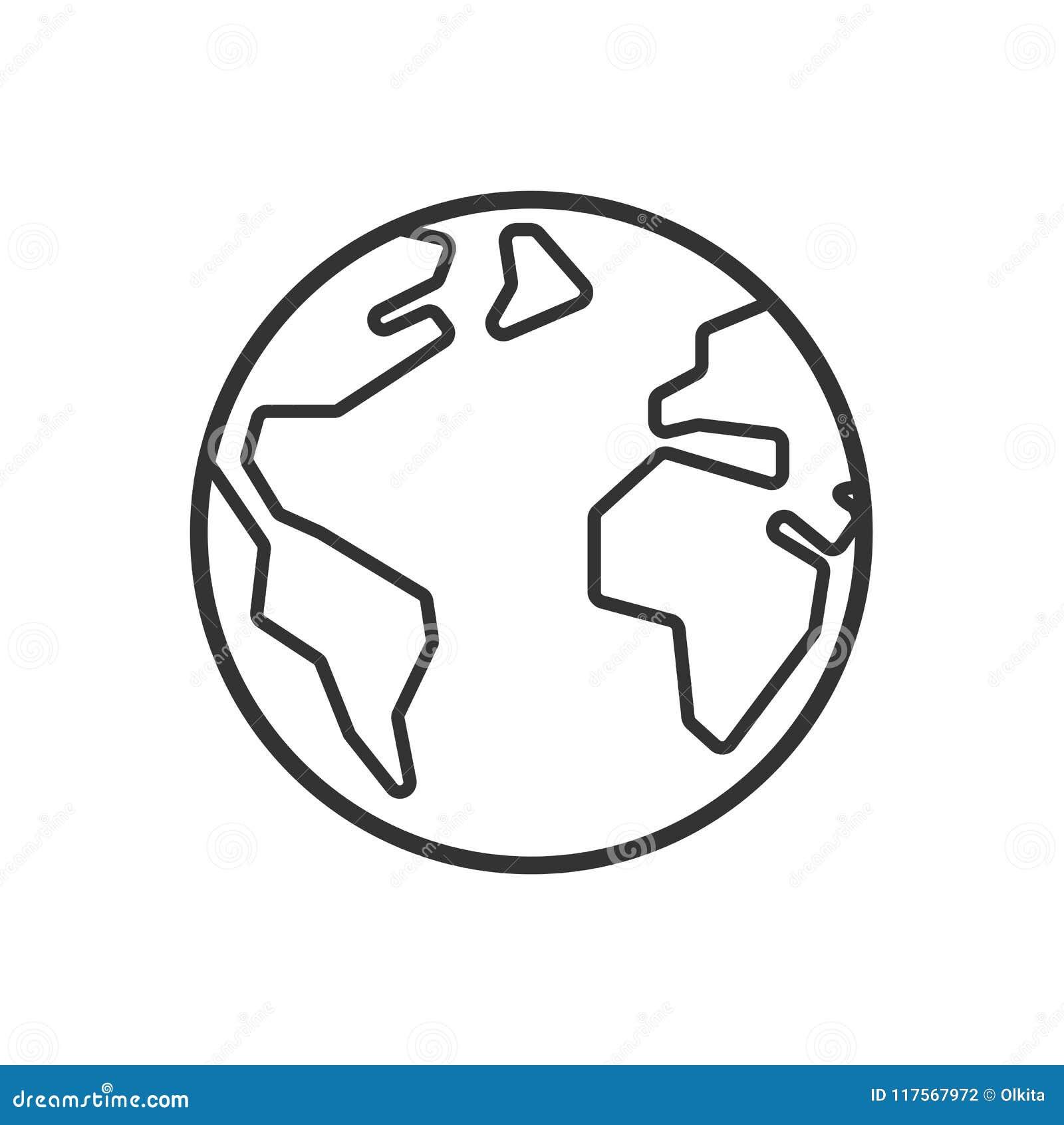 Zwart geïsoleerd overzichtspictogram van bol op witte achtergrond Lijnpictogram van aarde