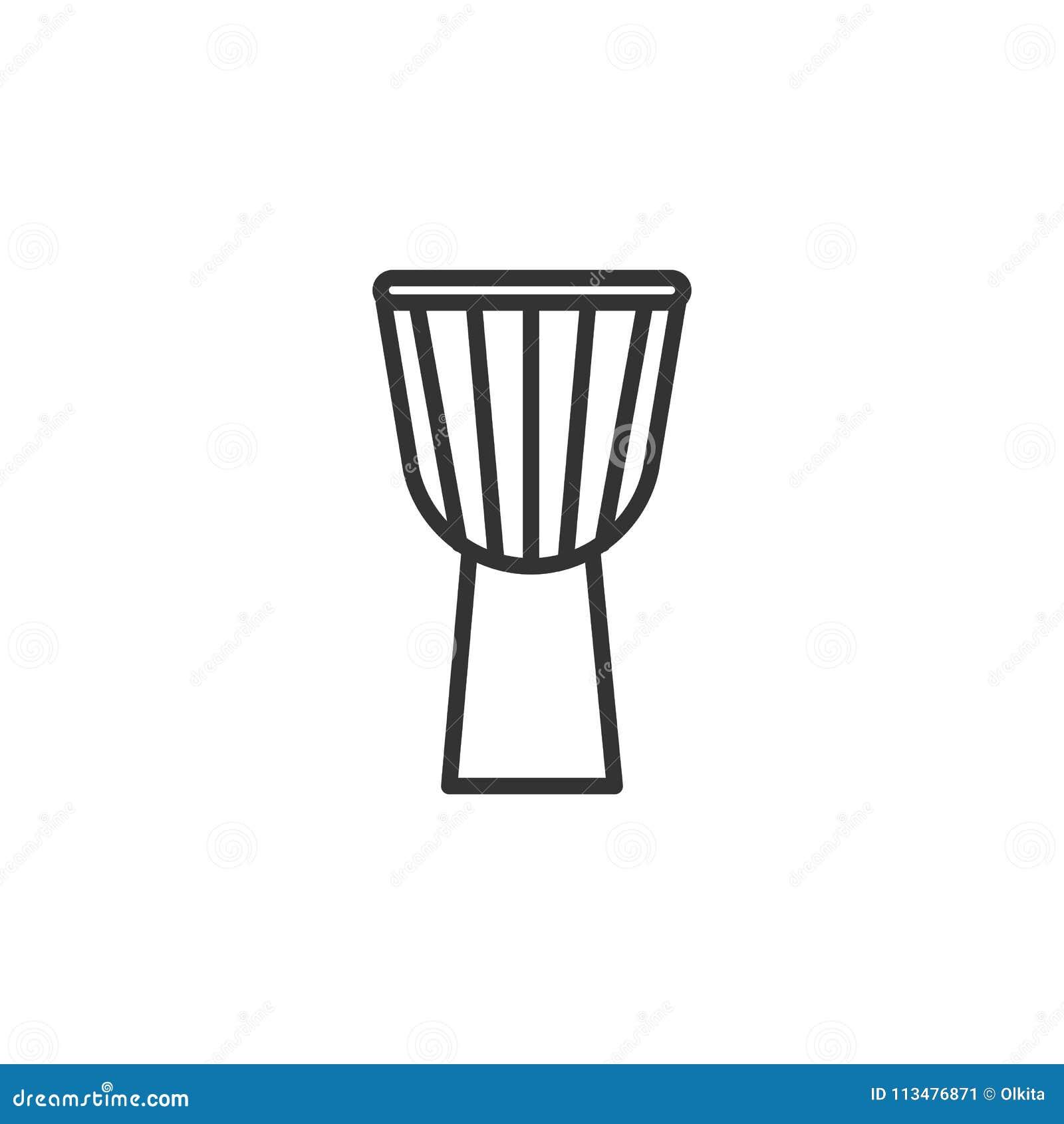 Zwart geïsoleerd overzichtspictogram van djembe, trommel op witte achtergrond Lijnpictogram van percussie muzikaal instrument