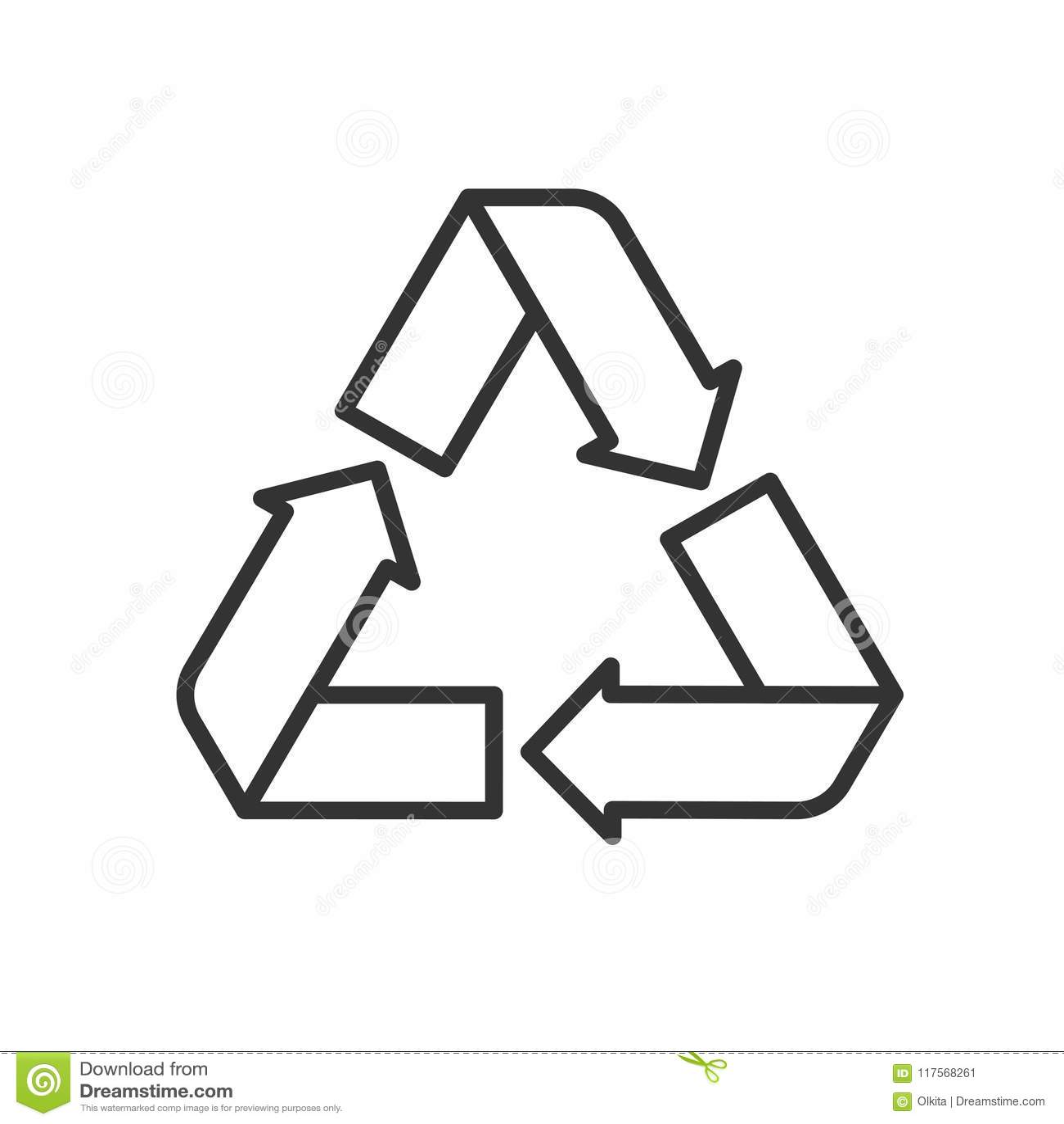 Zwart geïsoleerd overzichtspictogram van kringloop op witte achtergrond Lijnpictogram van simbol van recycling