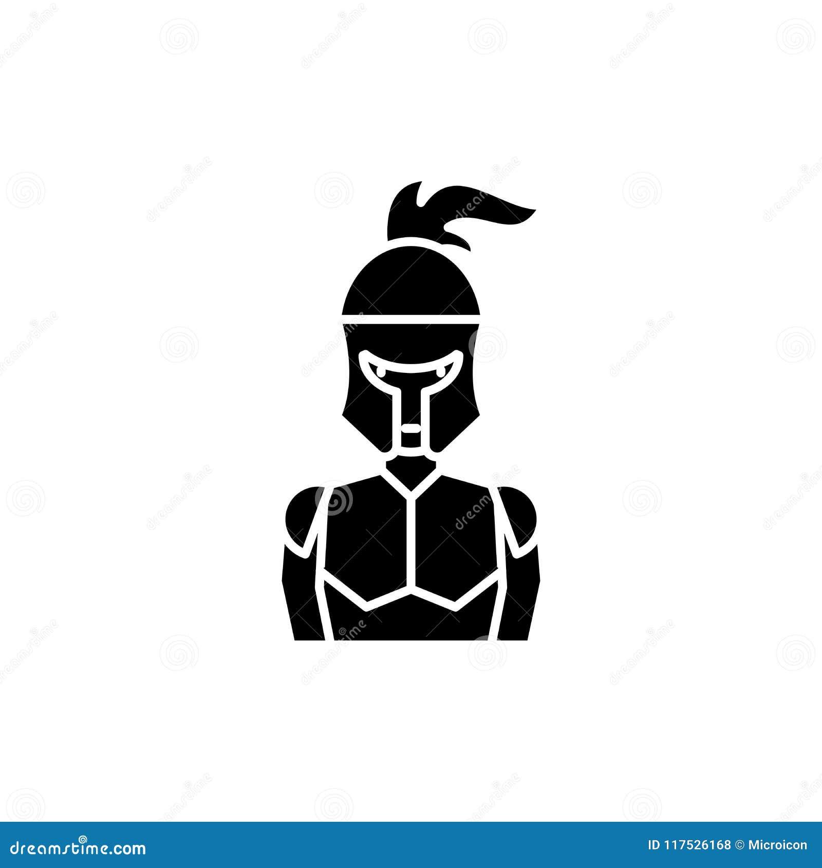Zwart het pictogramconcept van het ridder` s pantser Het vlakke vectorsymbool van het ridder` s pantser, teken, illustratie