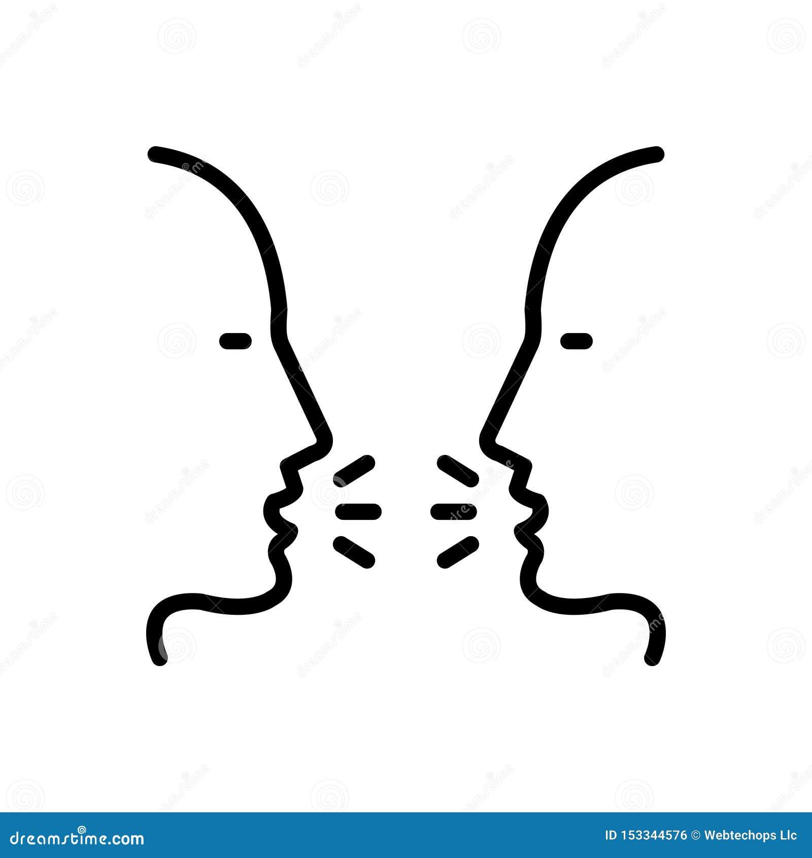 Zwart lijnpictogram voor Bespreking, roddel en gesprek