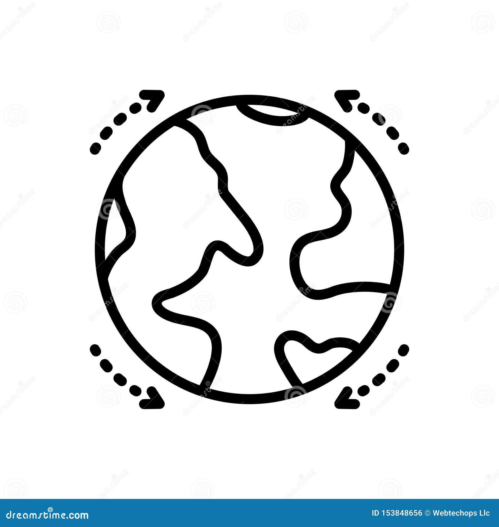 Zwart lijnpictogram voor Bol, sferisch en model