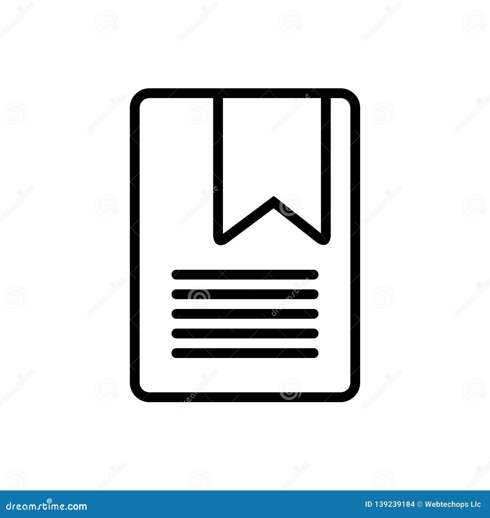 Zwart lijnpictogram voor Bookmarking, seo en ontwikkeling