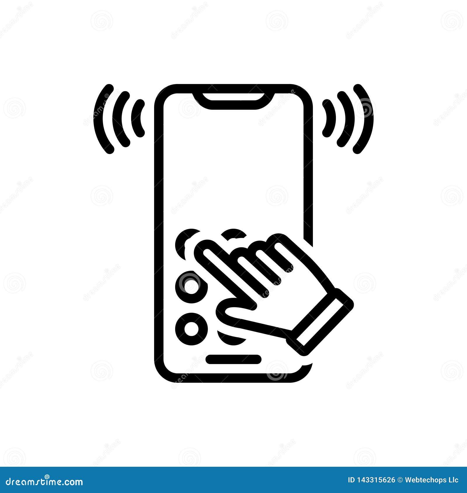 Zwart lijnpictogram voor Dialtone, telecommunicatie en ring