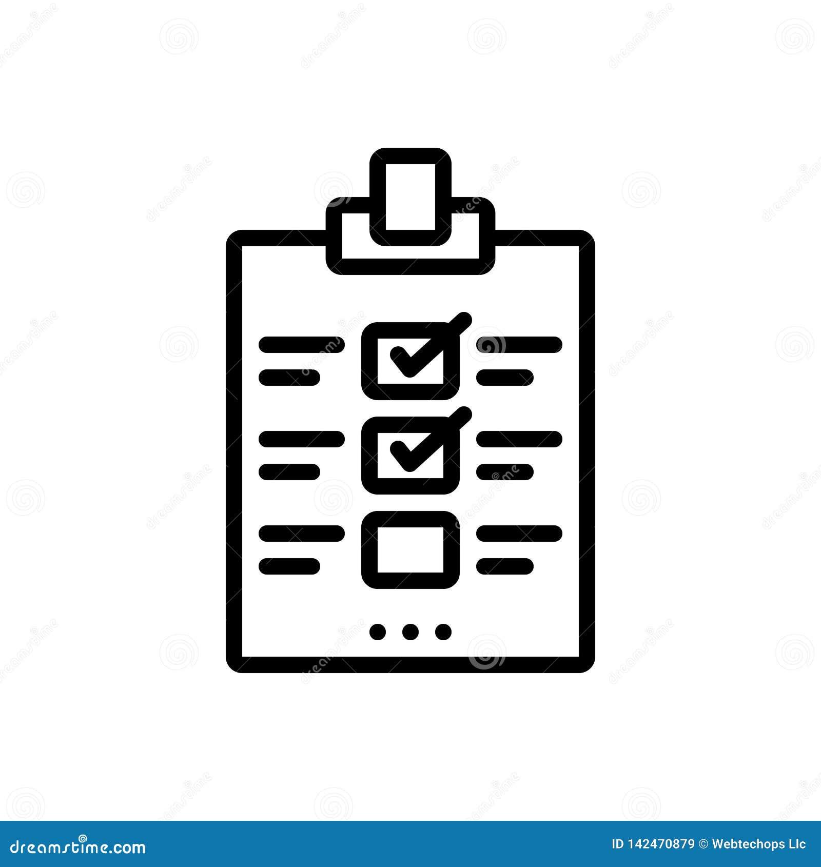 Zwart lijnpictogram voor Evaluatie, beoordeling en bericht