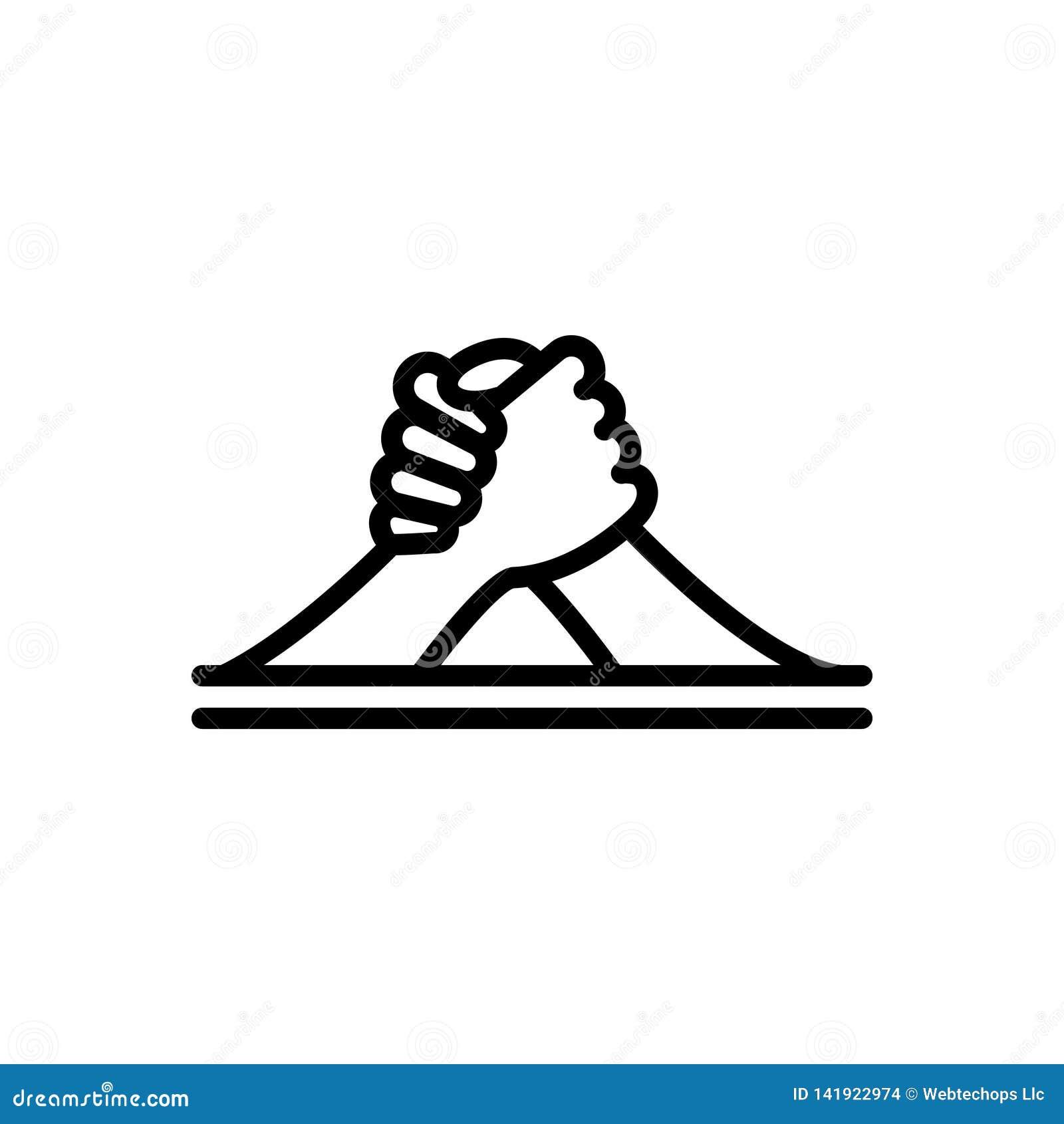 Zwart lijnpictogram voor Wapen, het Worstelen en uitdaging