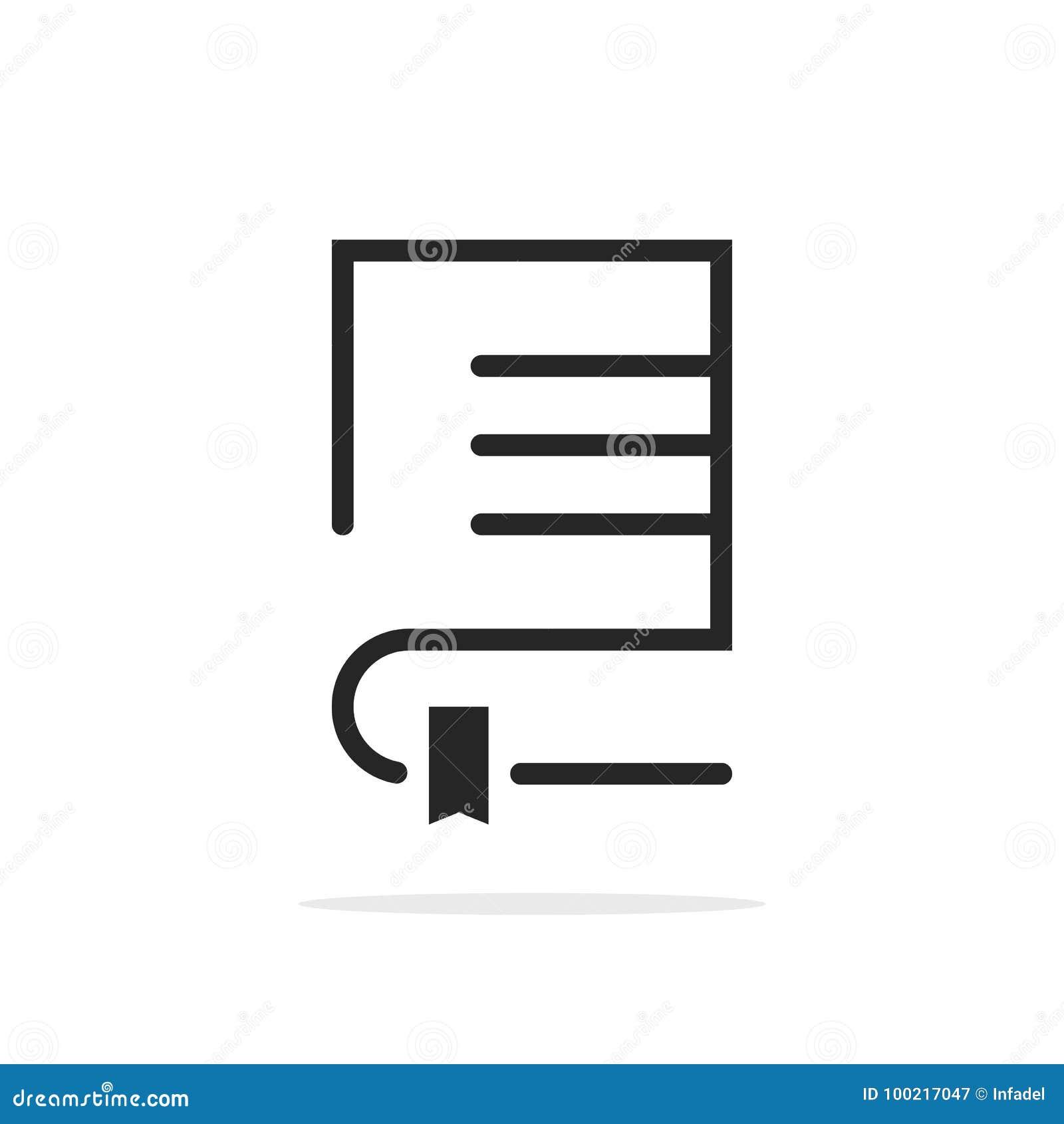 Zwart lineair boekembleem met referentie