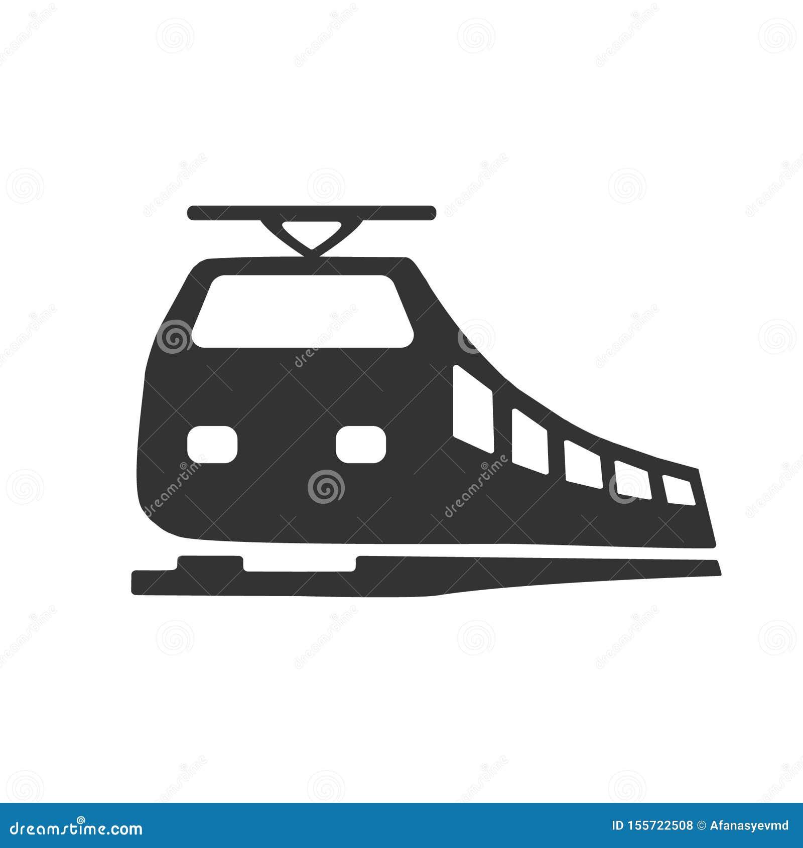 Zwart modern die treinembleem op witte achtergrond wordt geïsoleerd Ontwerpelementen voor embleem, etiket, teken Vector illustrat