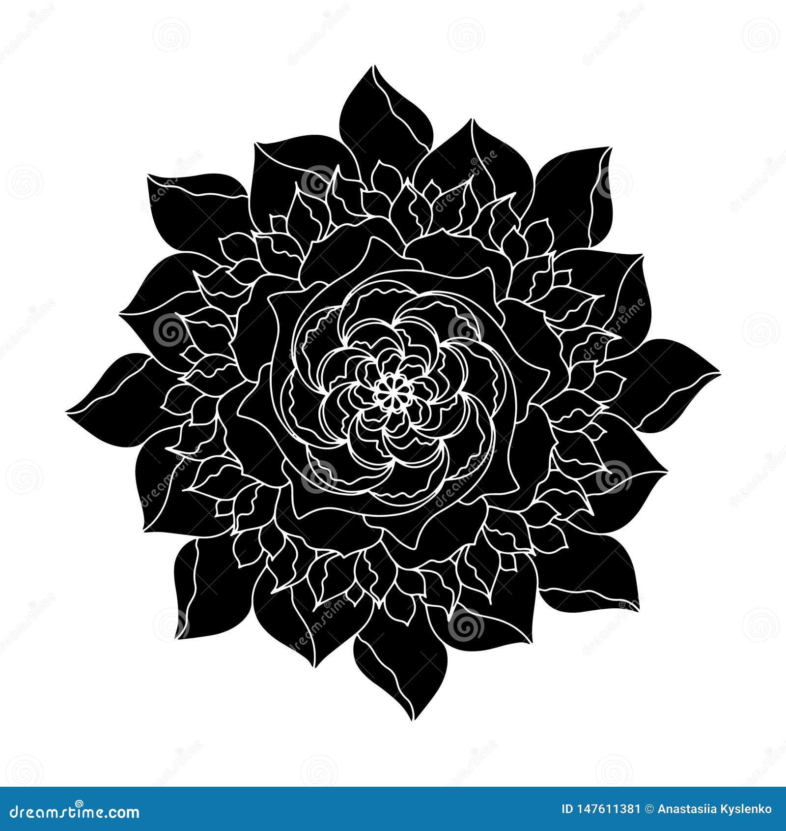 Zwart nam organische installatie van het Bloem de vectorpictogram toe Hand getrokken huwelijksaffiche of prentbriefkaar De bloeme