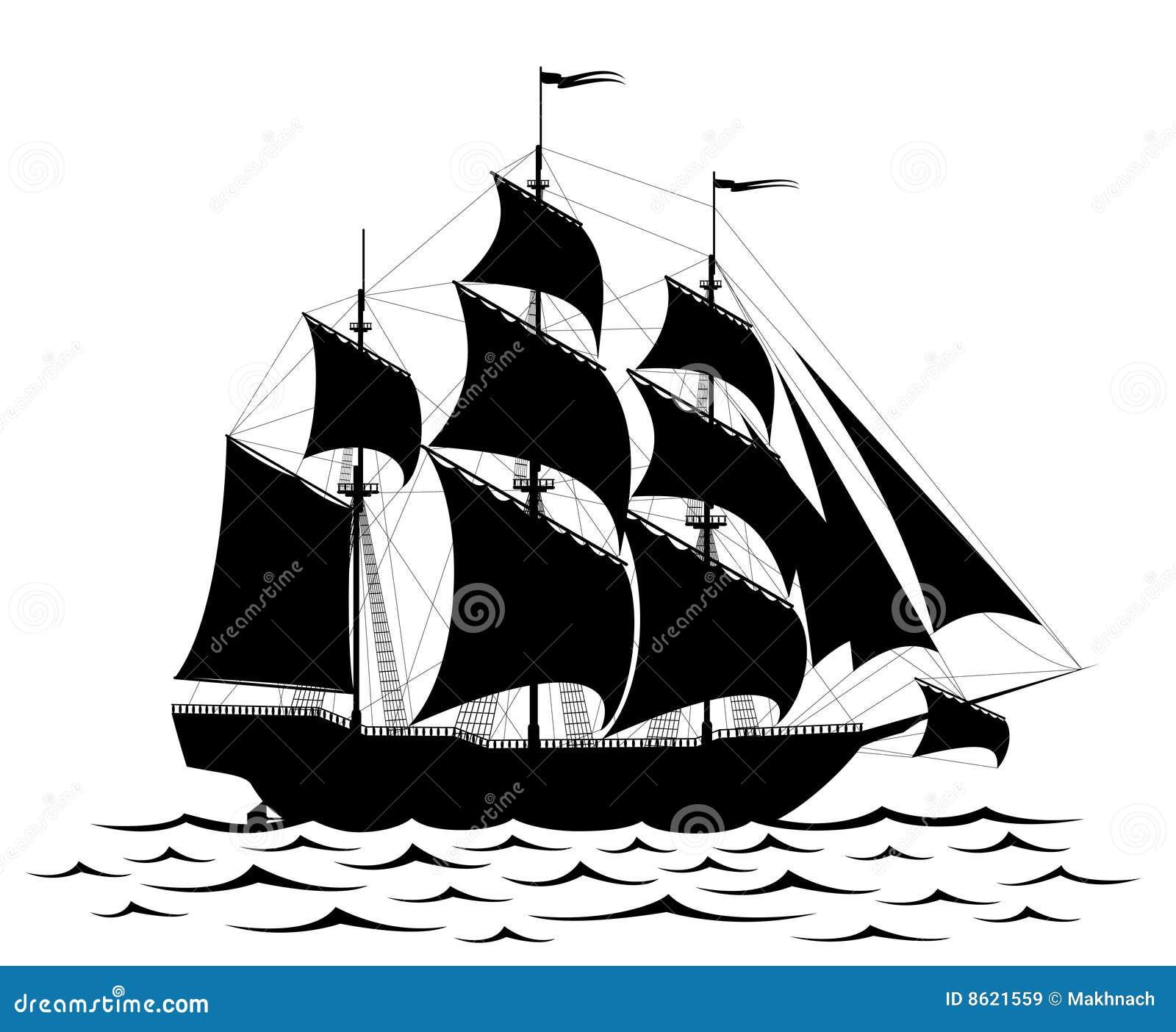 Zwart Schip Vector Illustratie Illustratie Bestaande Uit
