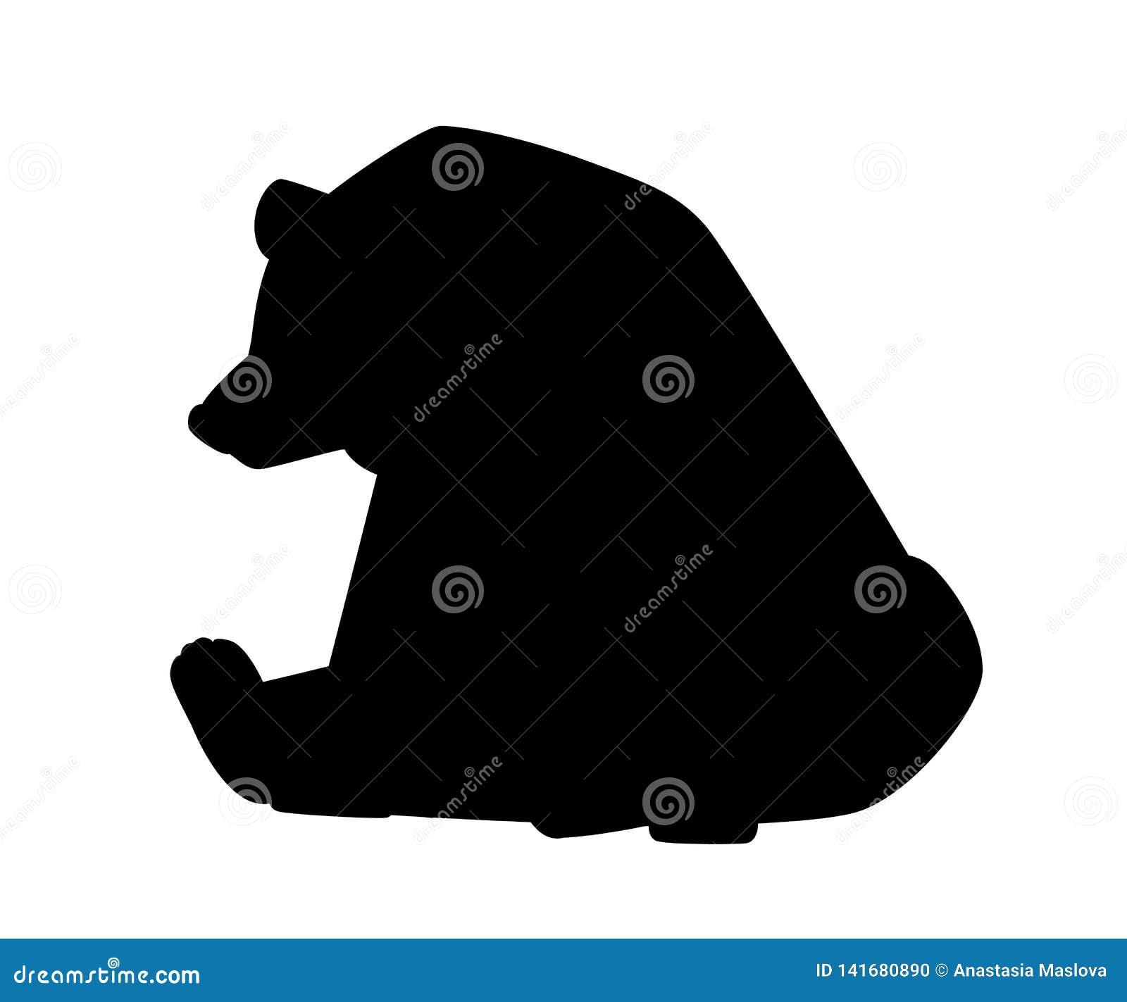 Zwart silhouet Leuke bruin draagt Carnivoranzoogdieren, familie Ursidae Beeldverhaal dierlijk ontwerp Vlakke ge?soleerde illustra