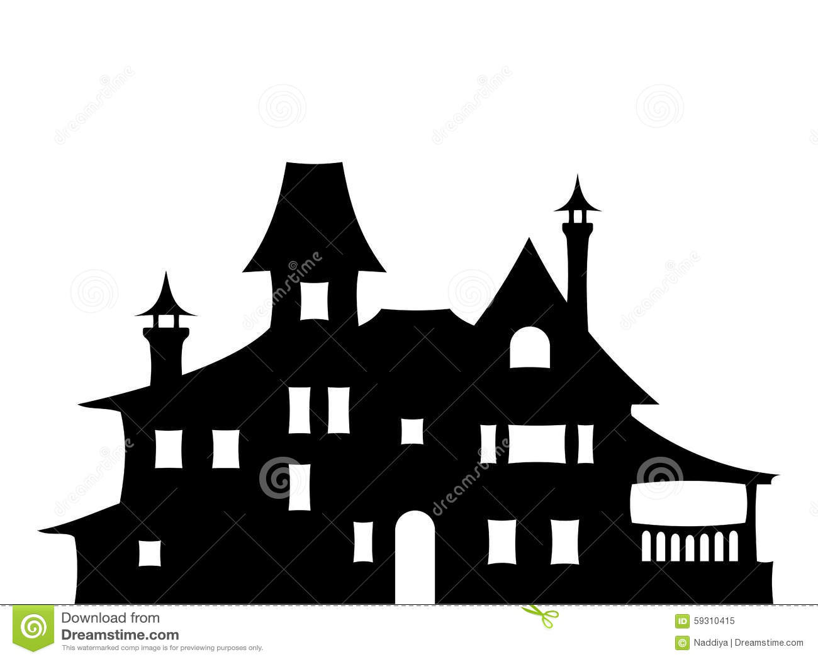 zwart silhouet een victoriaans huis vector illustratie