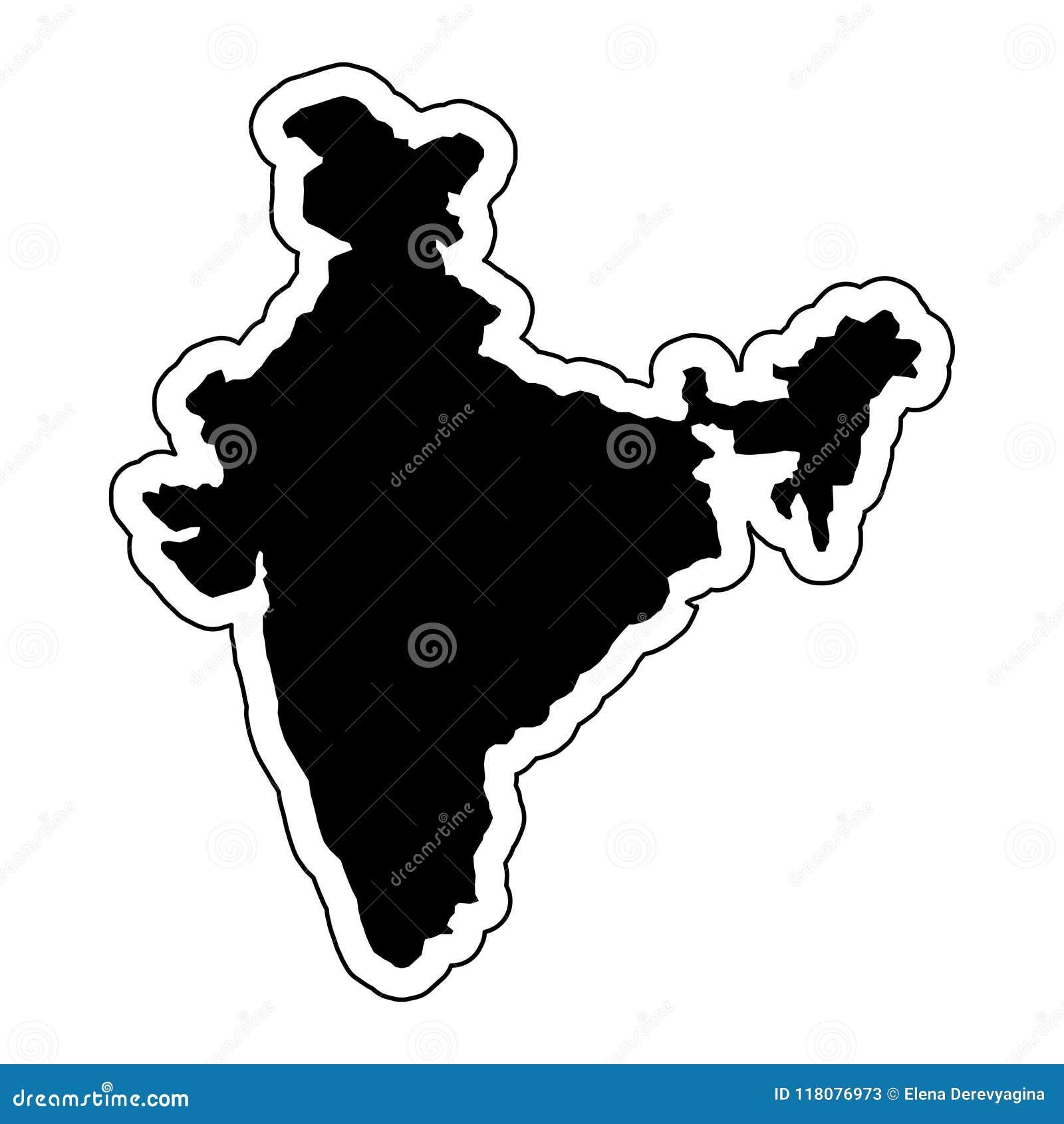 Zwart silhouet van het land India met de contourlijn of F