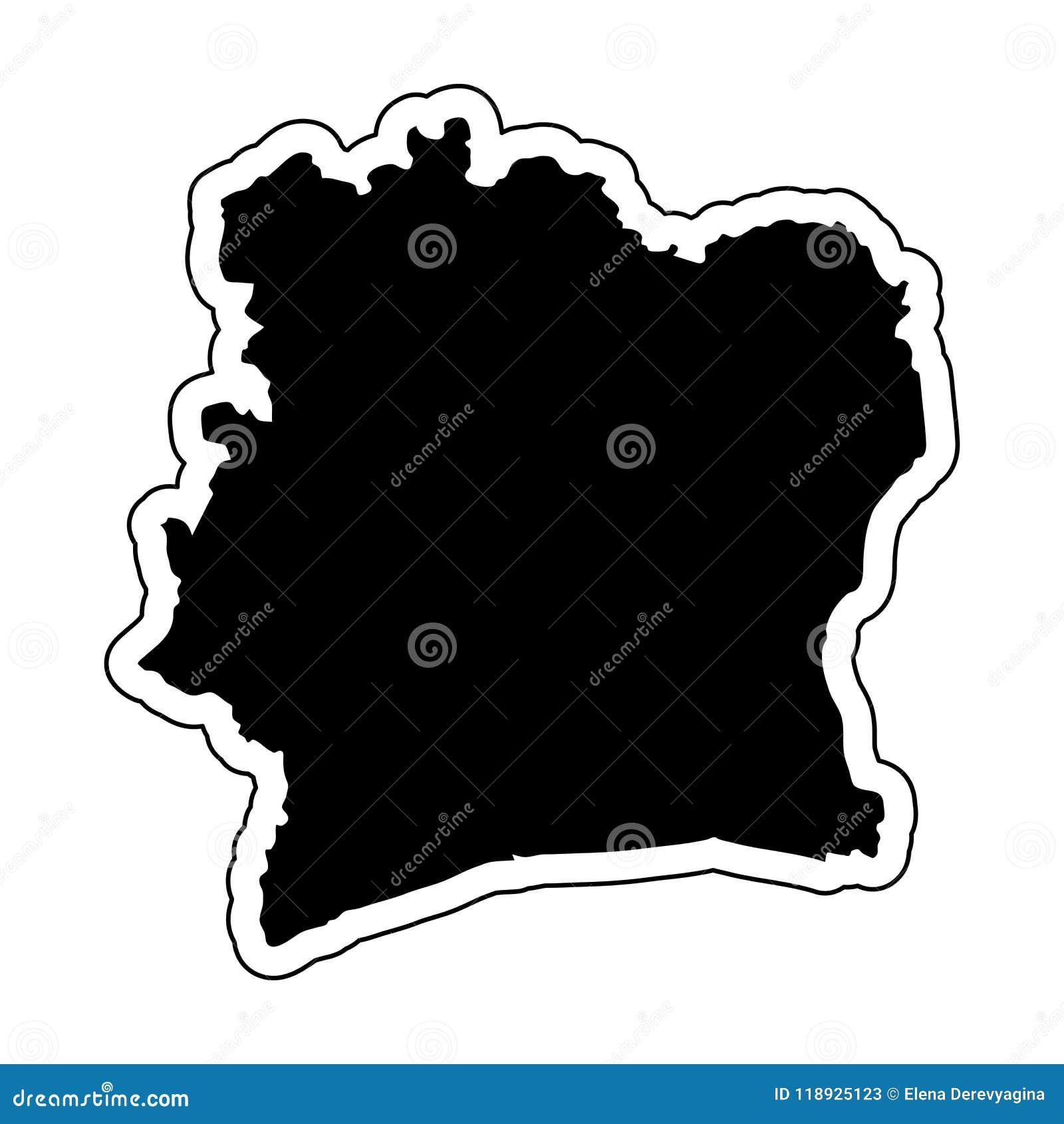 Zwart silhouet van het land Ivoorkust met de contour lin