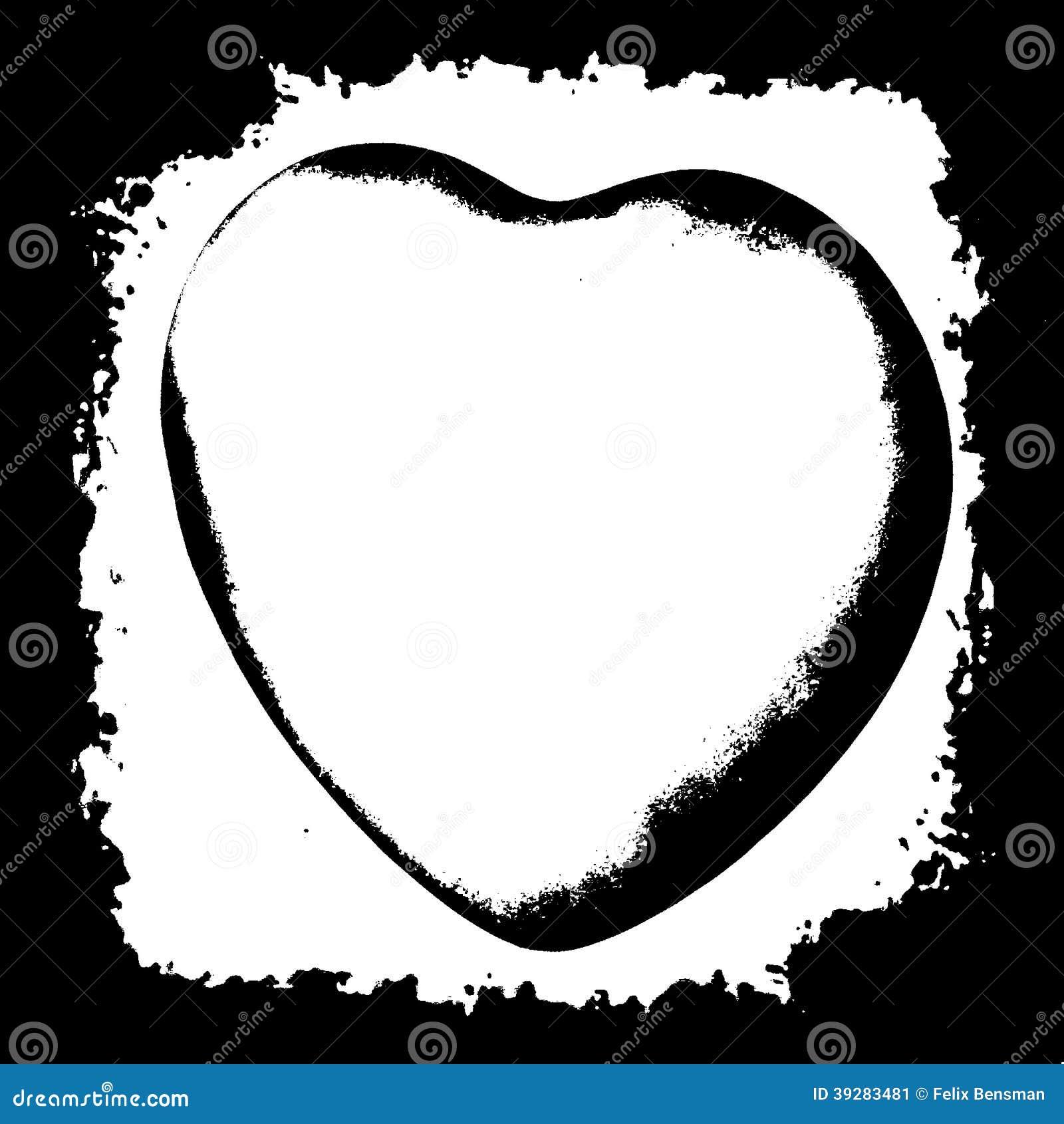 Zwart silhouet van het menselijke hart