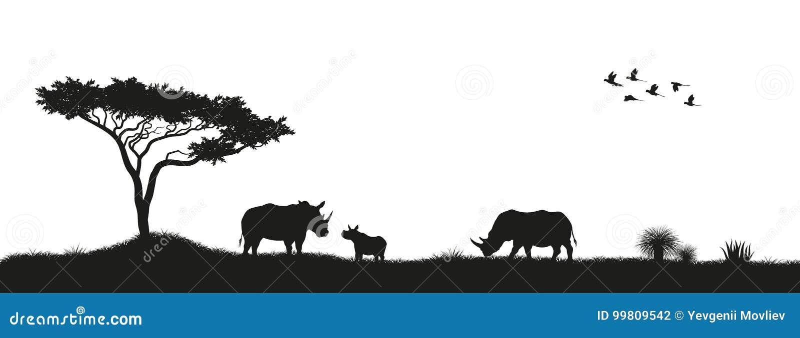 Zwart silhouet van rinocerossen en bomen in savanne Dieren van Afrika Afrikaans Landschap Panorama van wilde aard