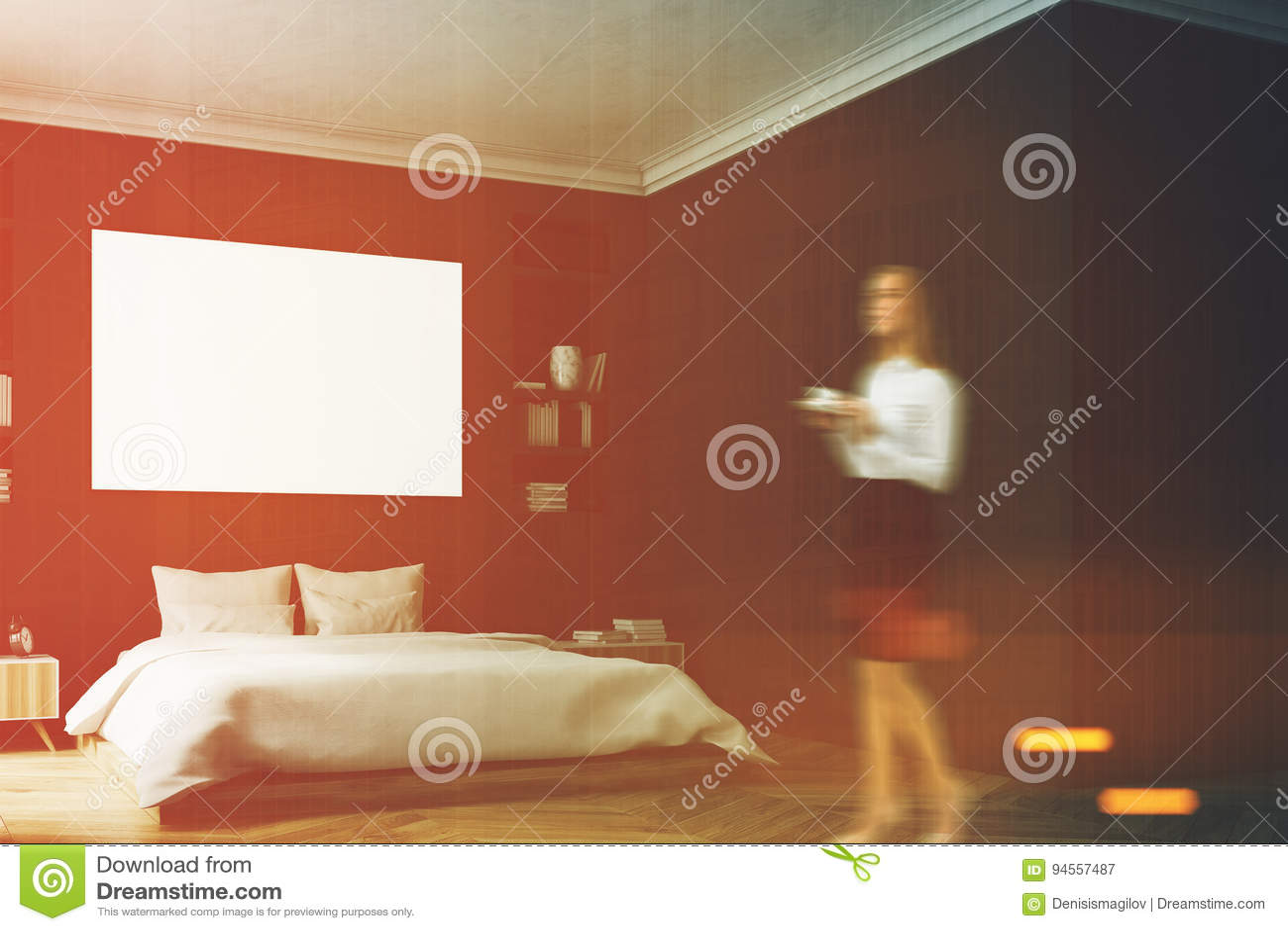Zwarte Slaapkamer Muur : Zwart slaapkamerbinnenland vrouw muur stock afbeelding