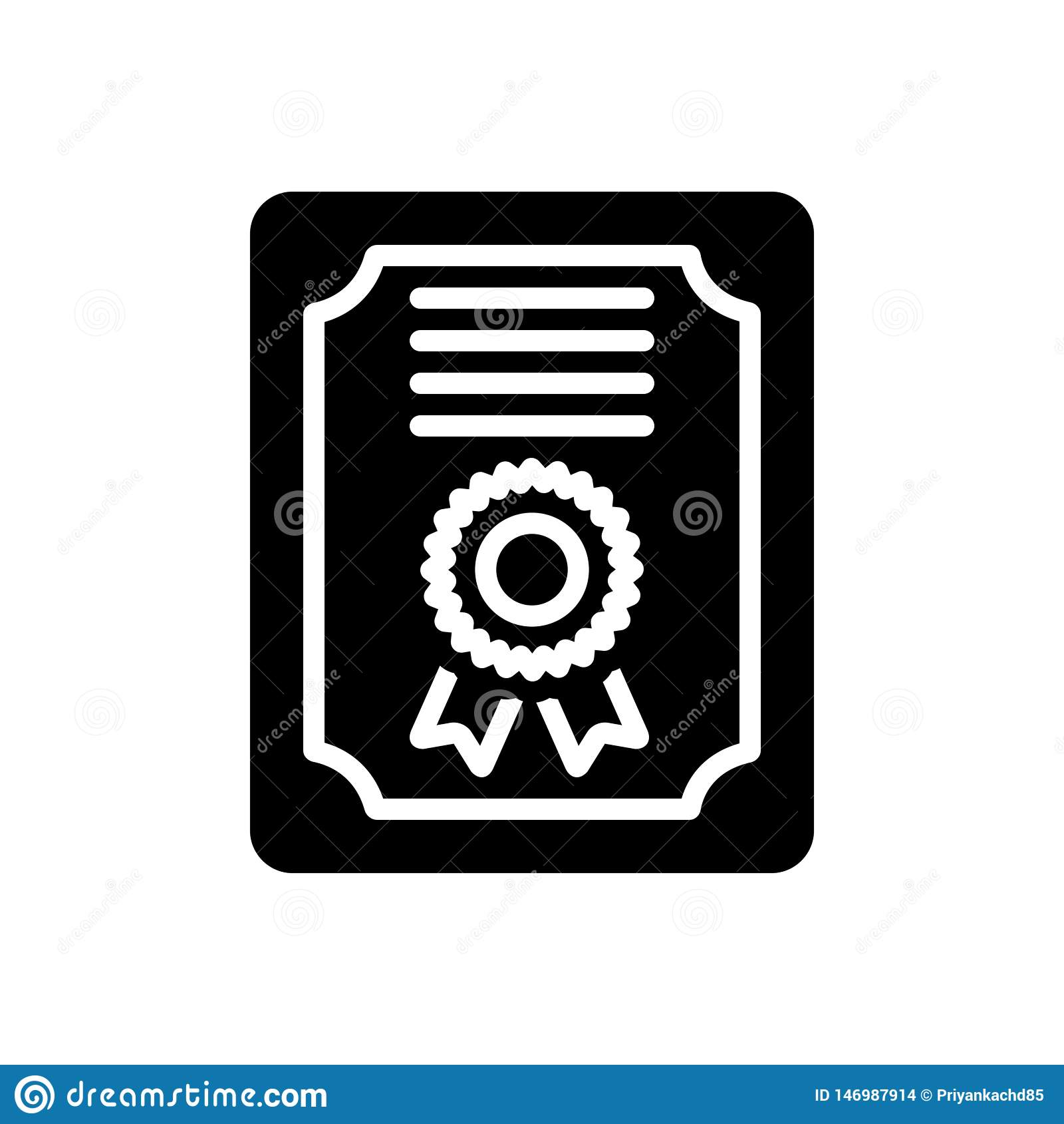 Zwart stevig pictogram voor Certificaat, diploma en eer