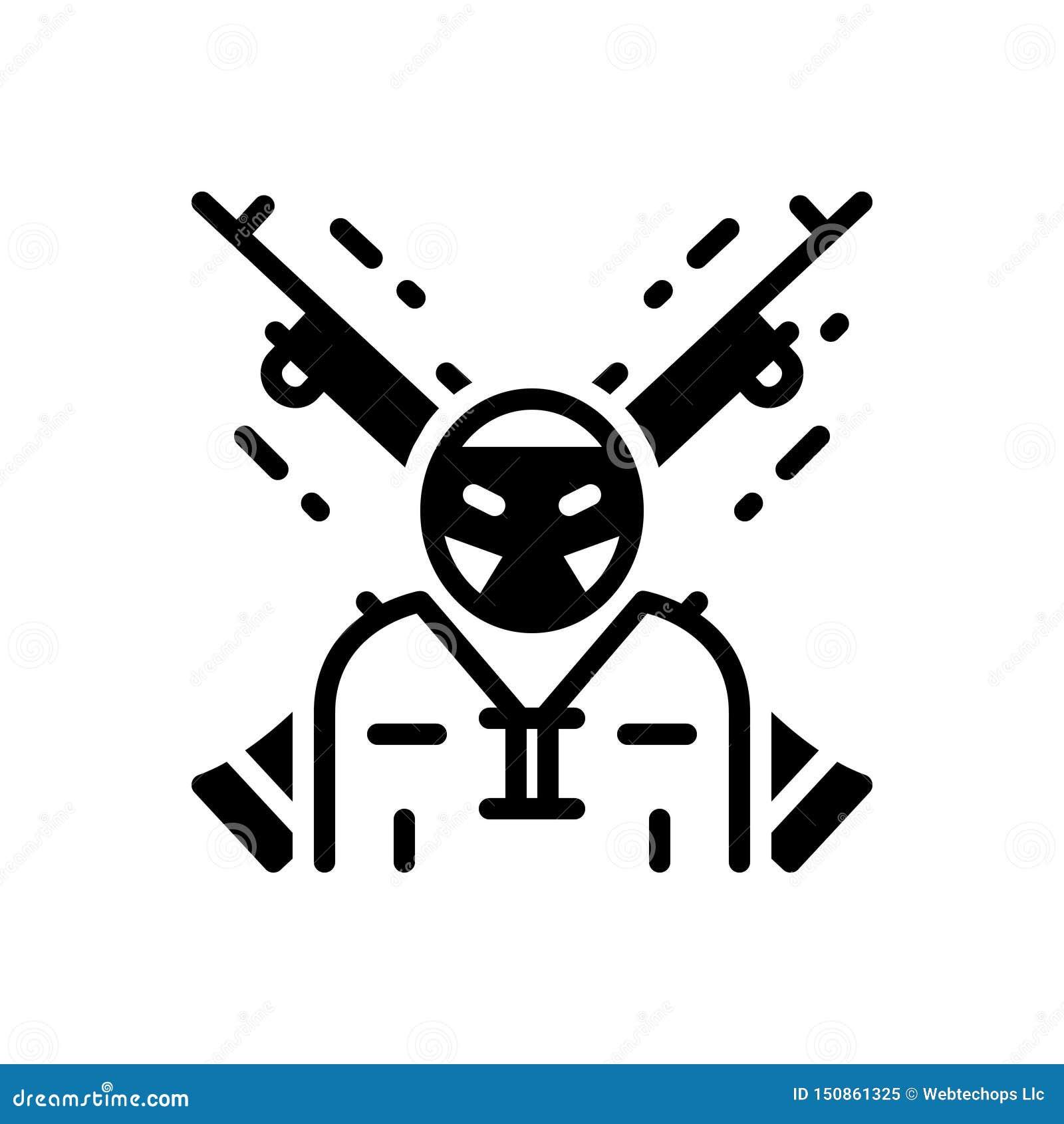 Zwart stevig pictogram voor Extremist, terrorist en rebel
