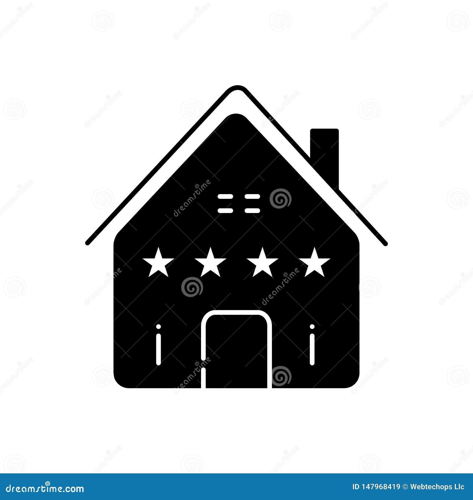 Zwart stevig pictogram voor Huisbezit, echt en landgoed