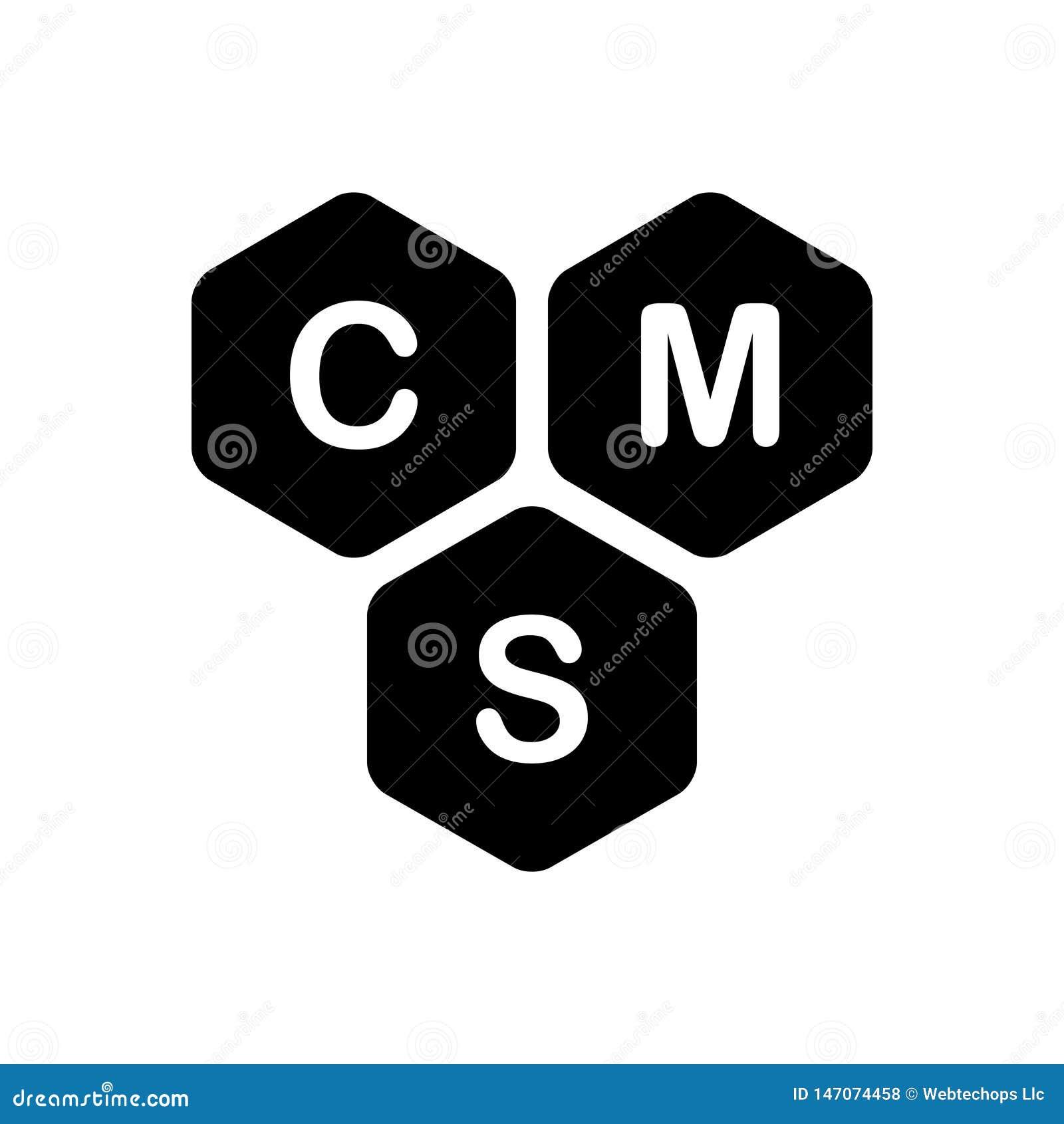 Zwart stevig pictogram voor Inhoud, cms en beheer