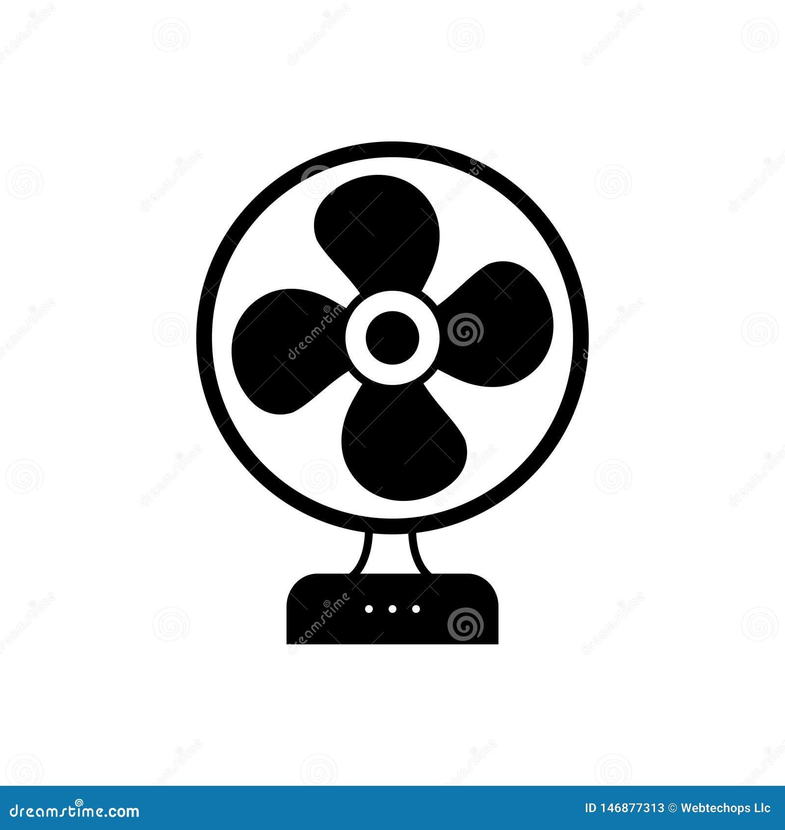 Zwart stevig pictogram voor Lijstventilator, koeler en elektrisch