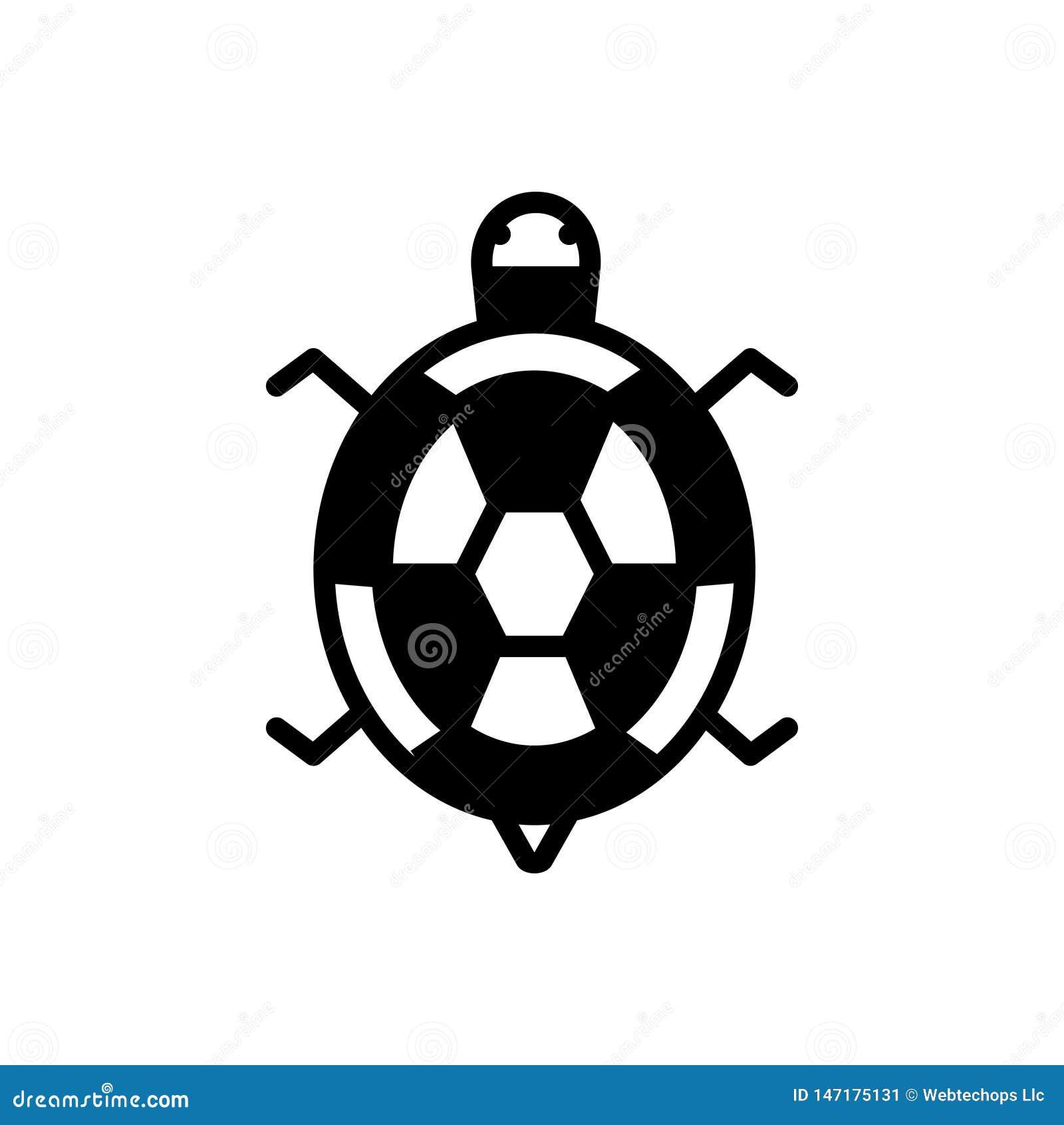 Zwart stevig pictogram voor Schildpad, reptiel en dier