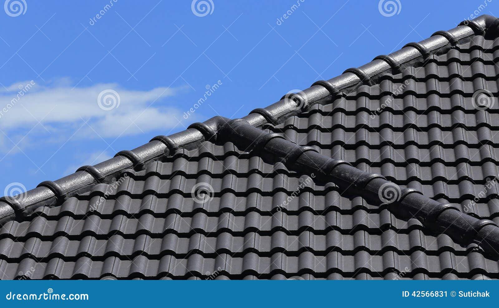Een Nieuw Huis : Zwart tegelsdak op een nieuw huis stock afbeelding afbeelding
