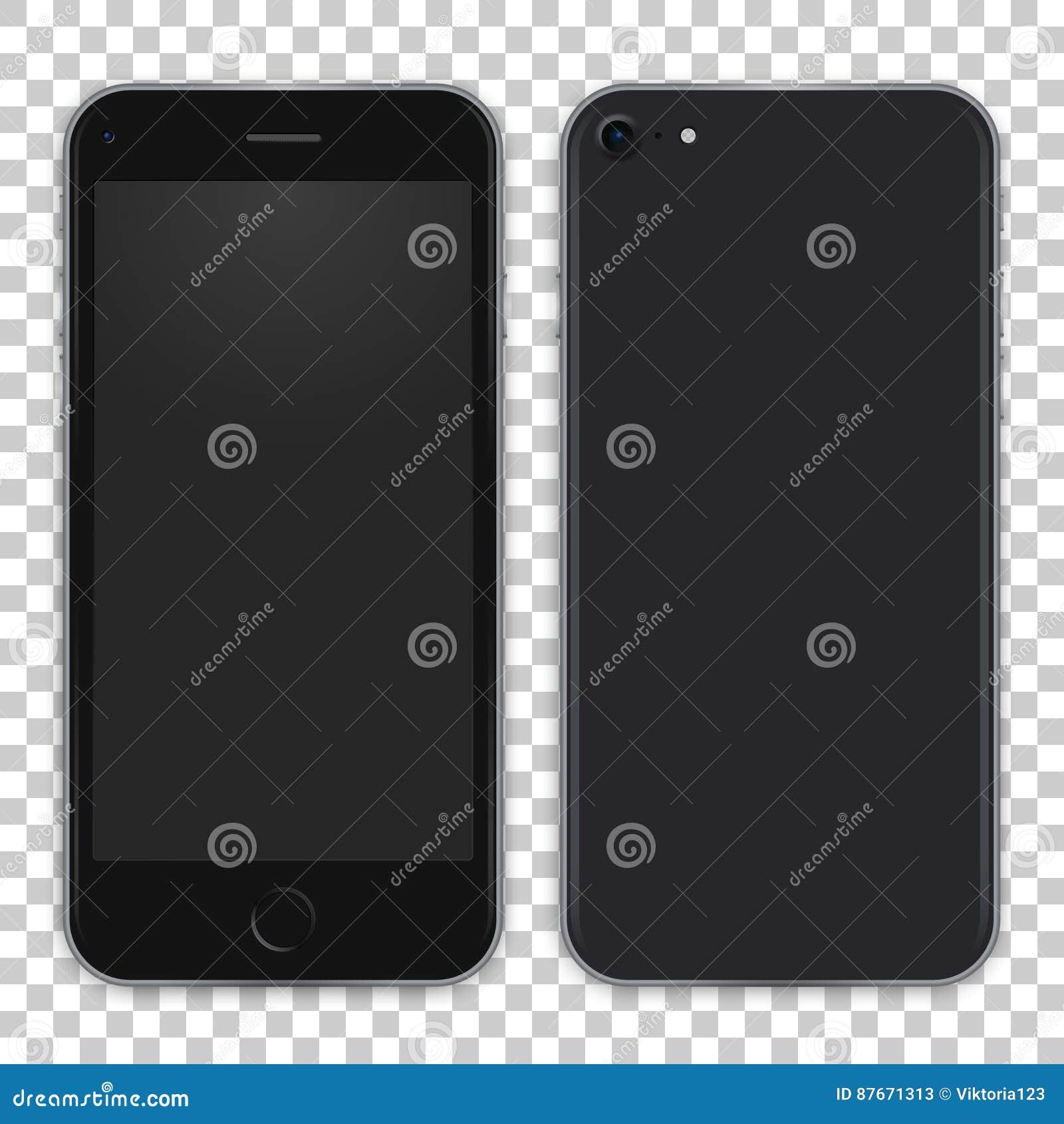 Zwart telefoonconcept van voorkant en achtermening vector realistische illustratie