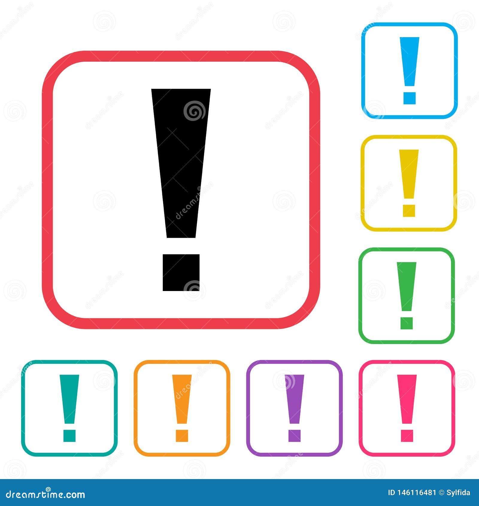 Zwart uitroepteken in rood kader De kleurrijke pictogrammen van reeks extra versies Vector