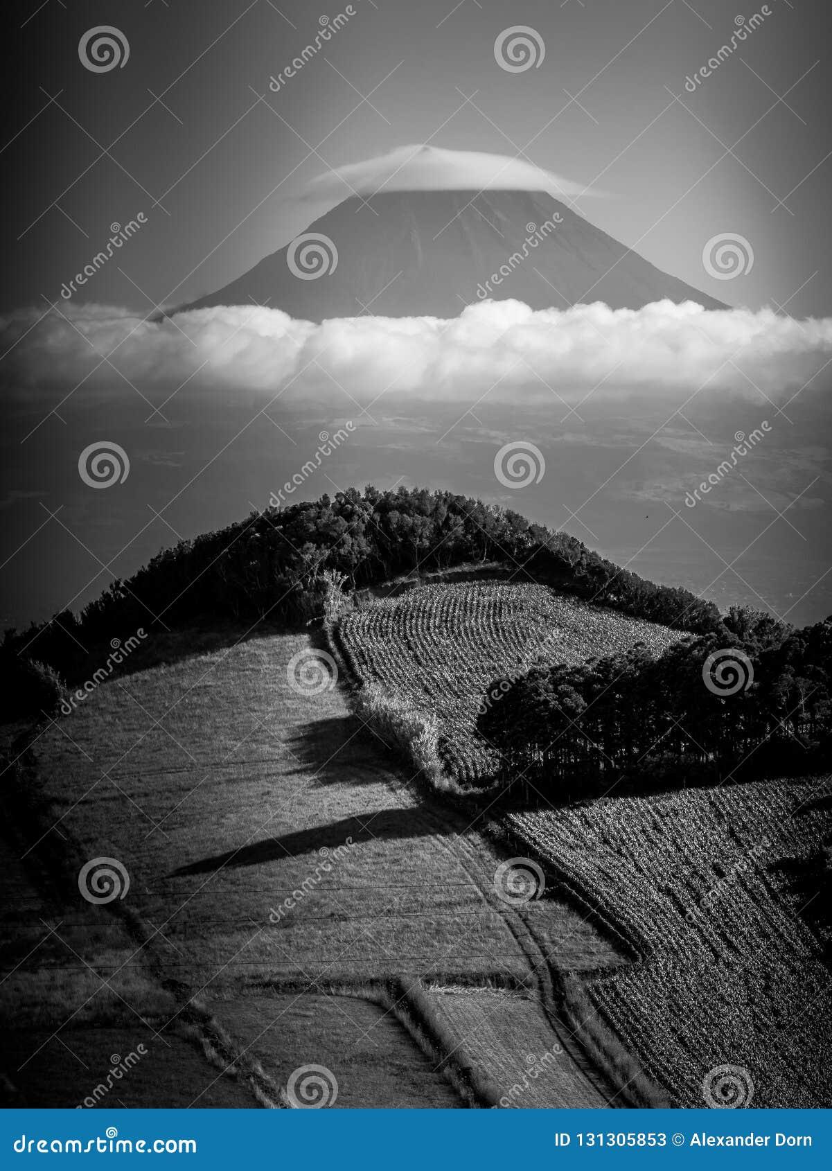 Zwart-wit beeld van platteland in de voorgrond en de berg van Pico op de achtergrond